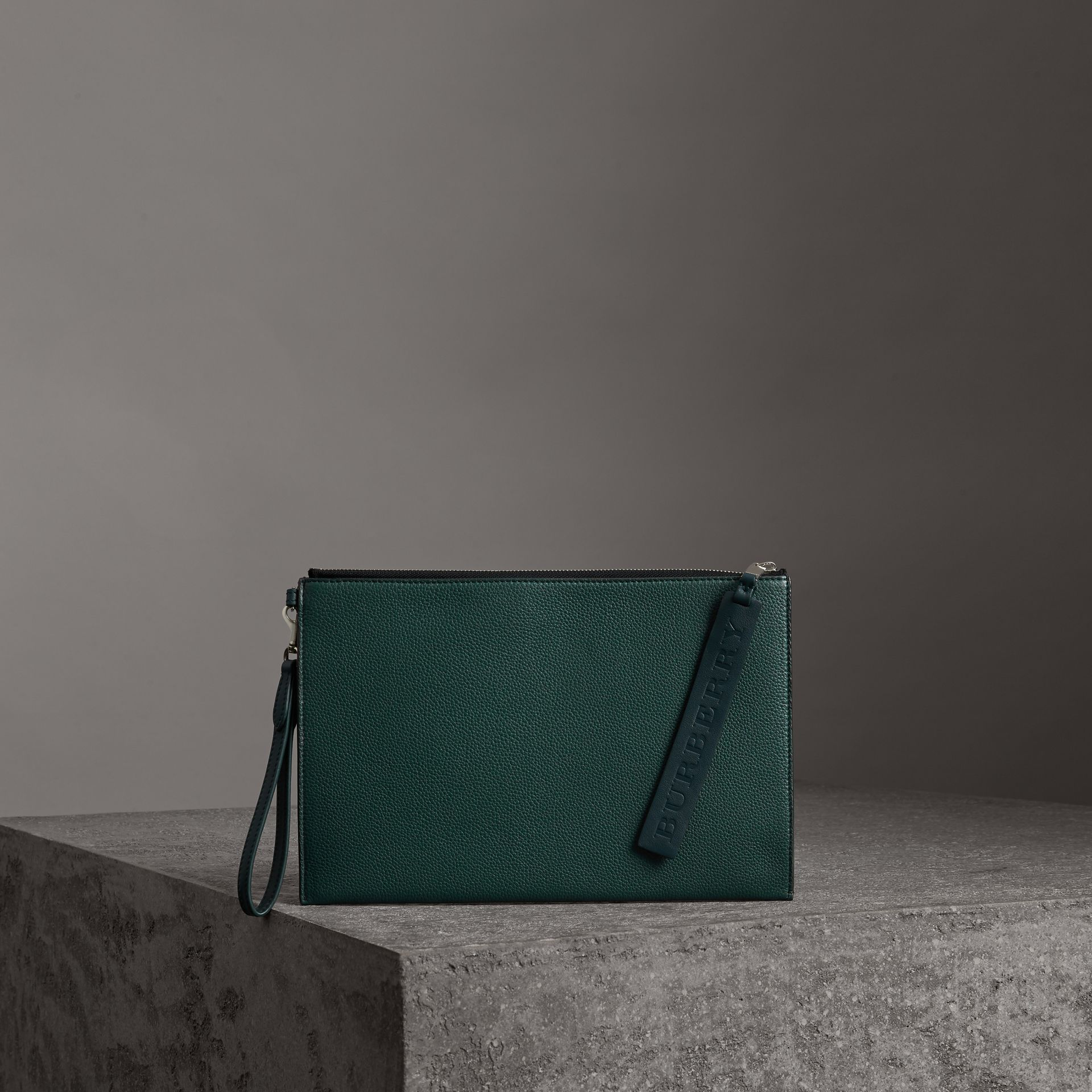 Grainy Leather Zip Pouch in Dark Cyan | Burberry - gallery image 0
