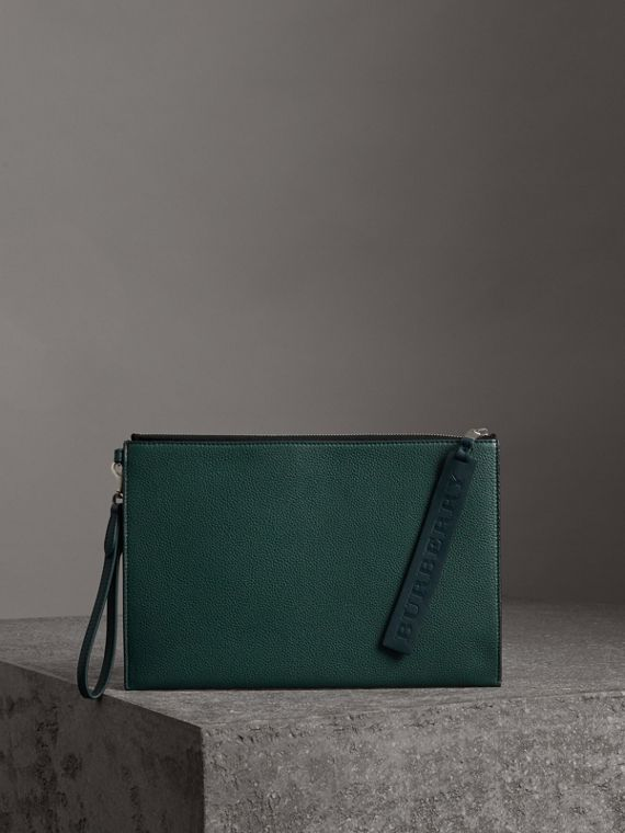 Grainy Leather Zip Pouch in Dark Cyan