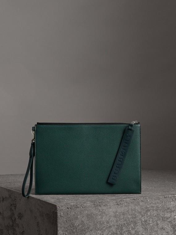 Bolsa pouch de couro granulado com zíper (Ciano Escuro)