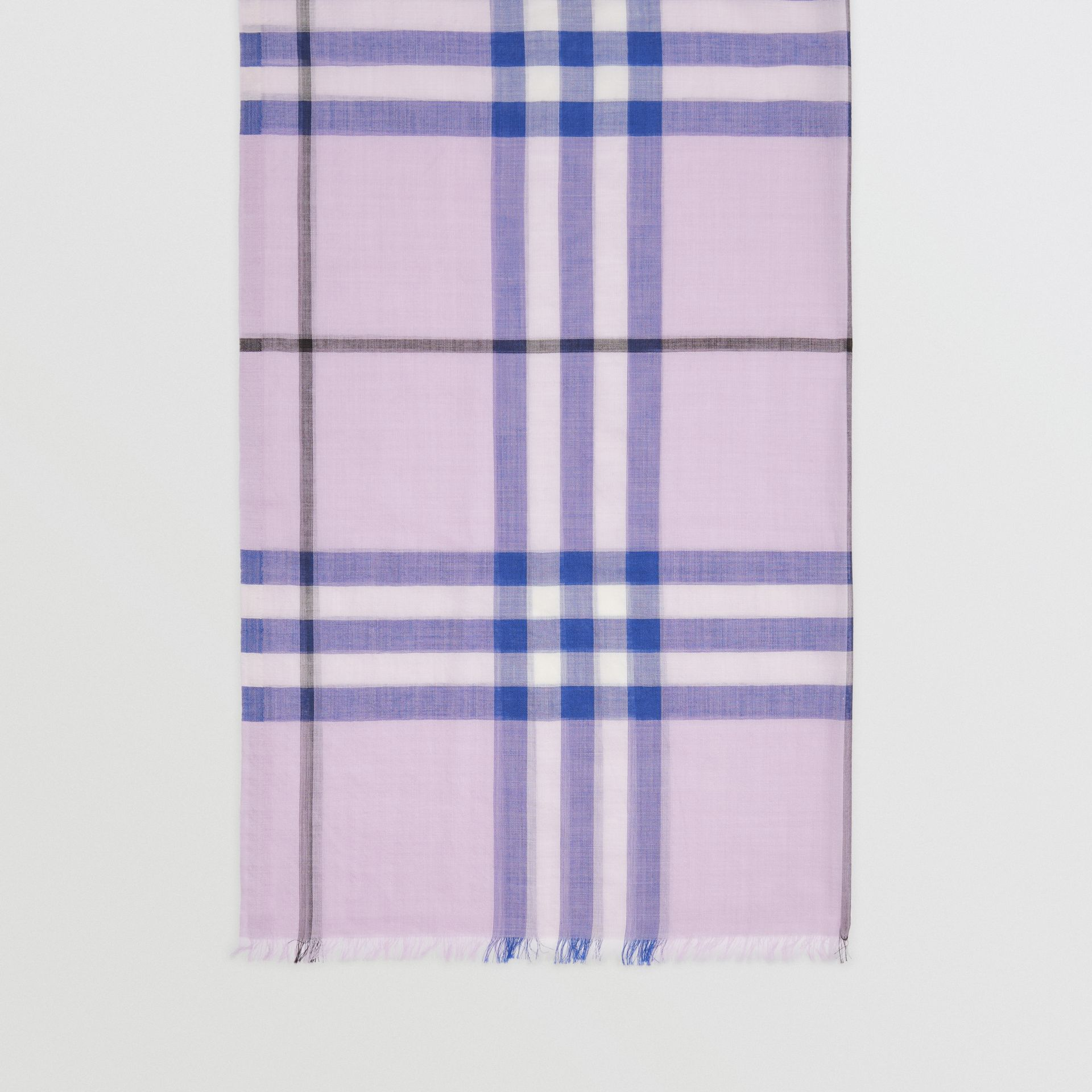 Lightweight Check Wool and Silk Scarf in Pale Orchid | Burberry Canada - gallery image 4