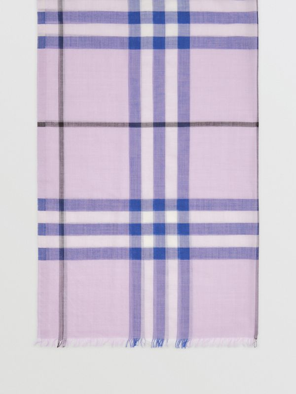 Lightweight Check Wool and Silk Scarf in Pale Orchid | Burberry Singapore - cell image 2
