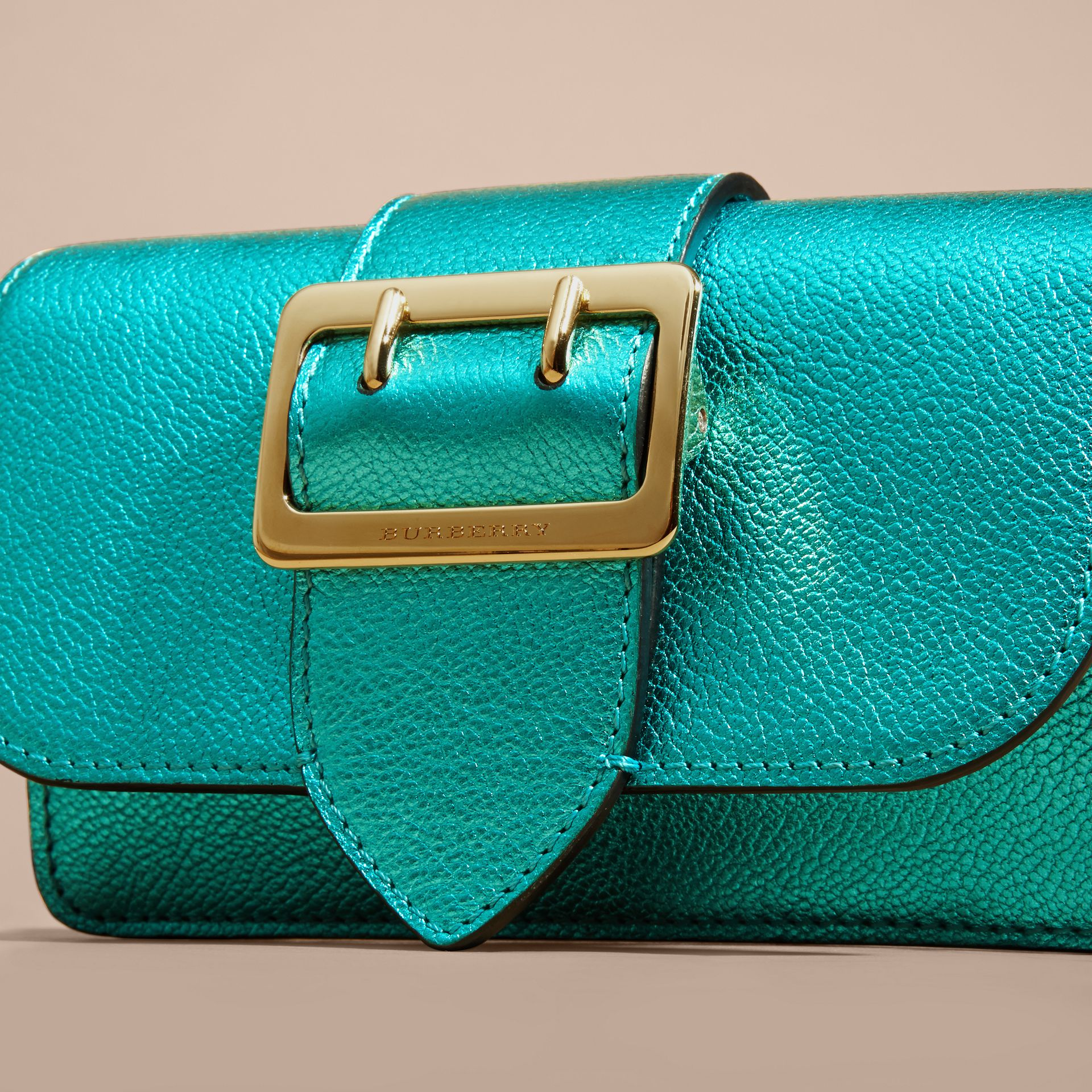 Emerald The Mini Buckle Bag in Metallic Grainy Leather Emerald - gallery image 2