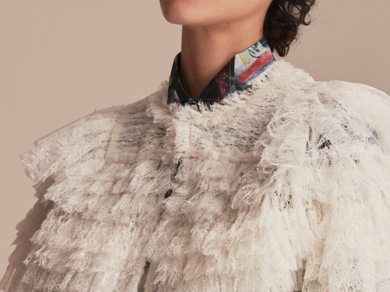 Tiered Lace Capelet in Natural White - Women | Burberry - cell image 4