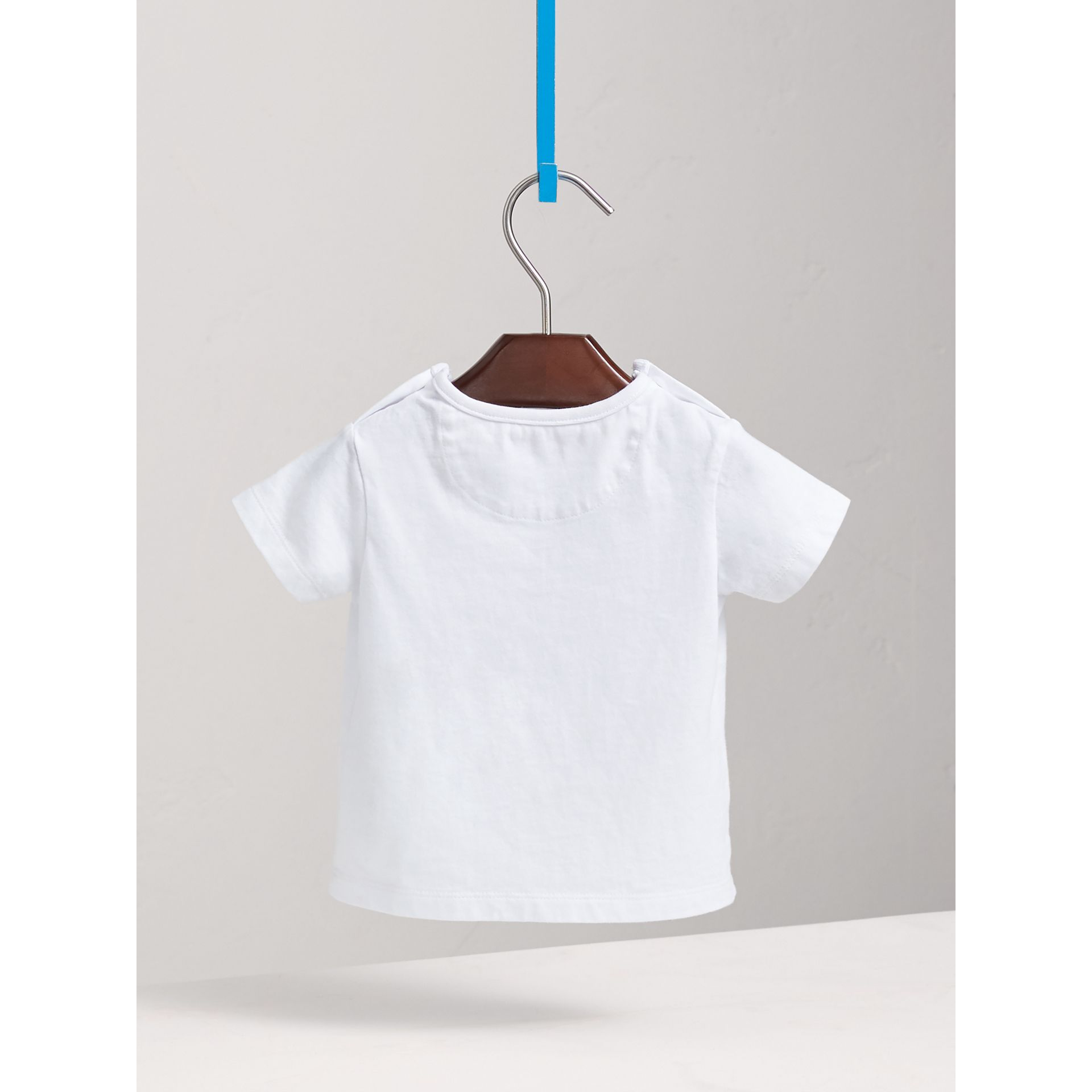 Parade Print Cotton T-shirt in White | Burberry - gallery image 3