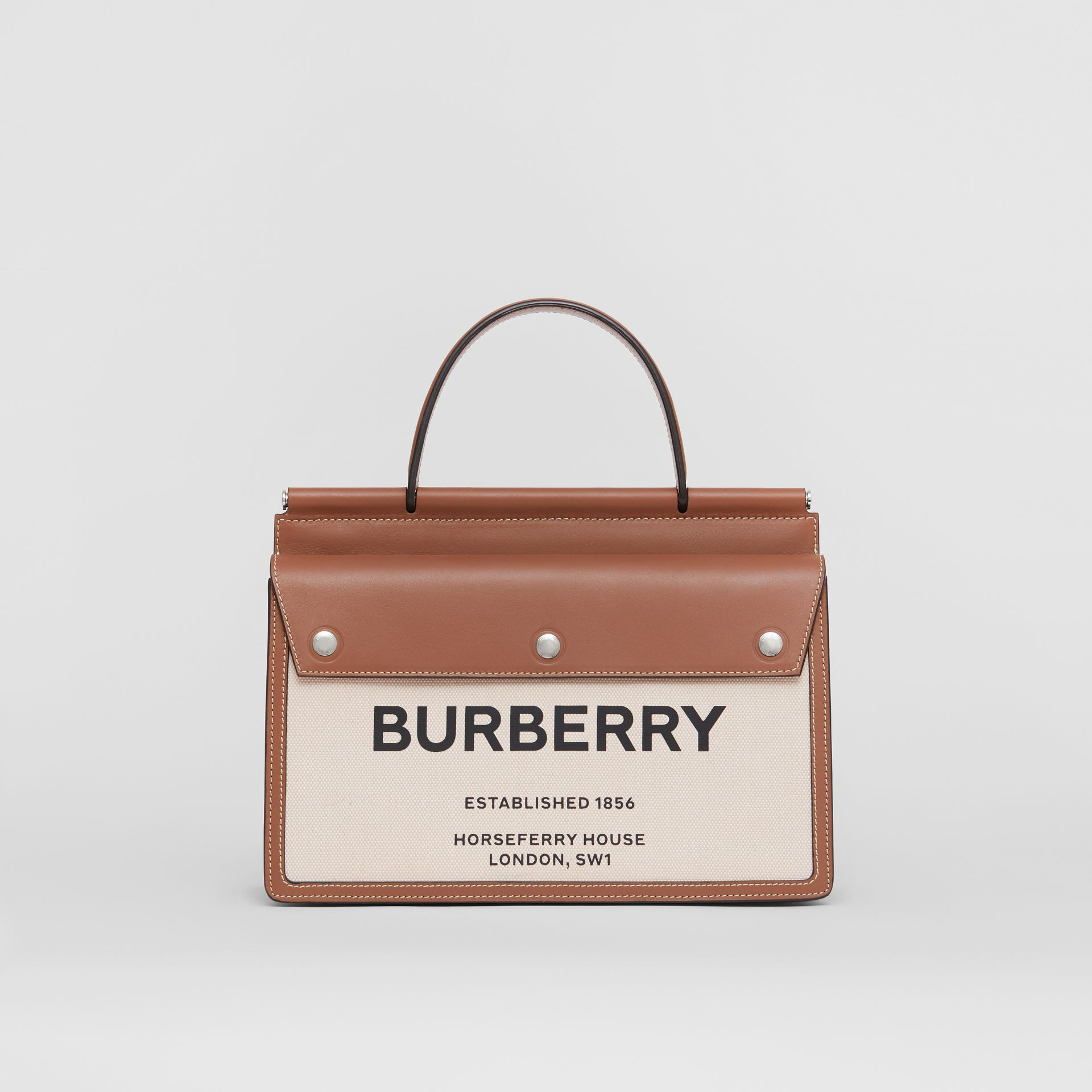 Small Horseferry Print Title Bag with Pocket Detail in Natural/malt Brown - Women | Burberry - gallery image 0
