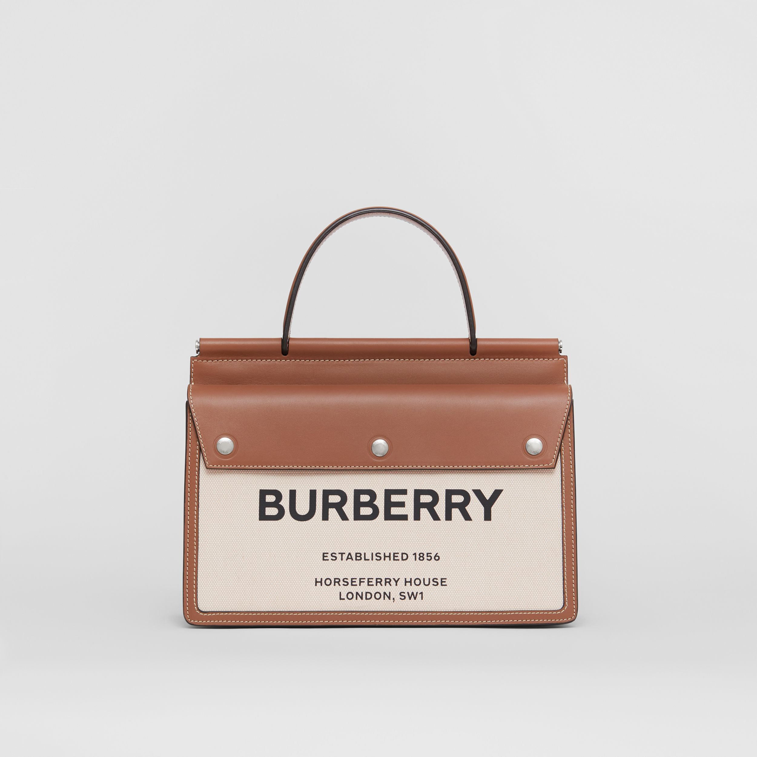 Small Horseferry Print Title Bag with Pocket Detail in Natural/malt Brown - Women | Burberry - 1
