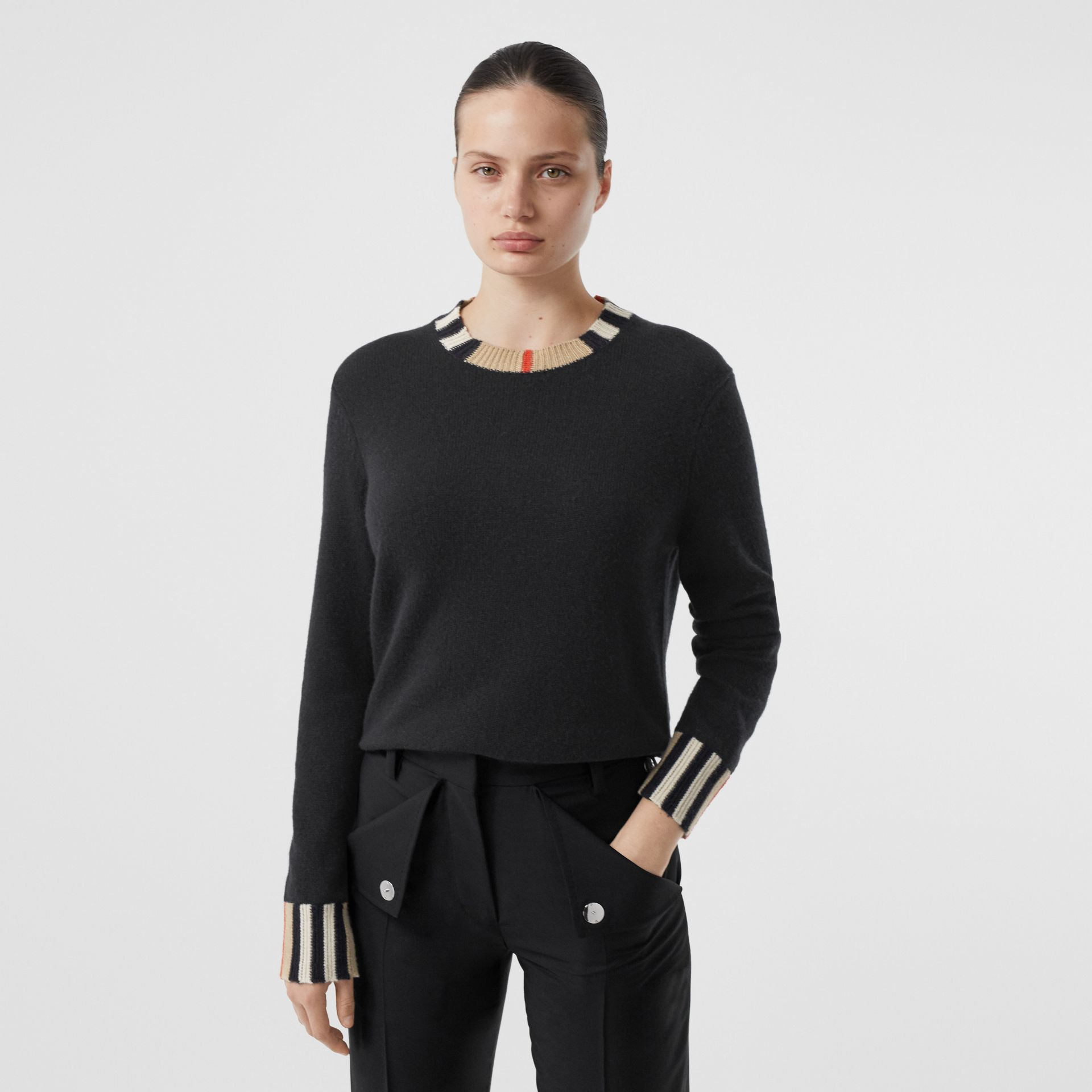 Icon Stripe Trim Cashmere Sweater in Black - Women | Burberry - gallery image 5