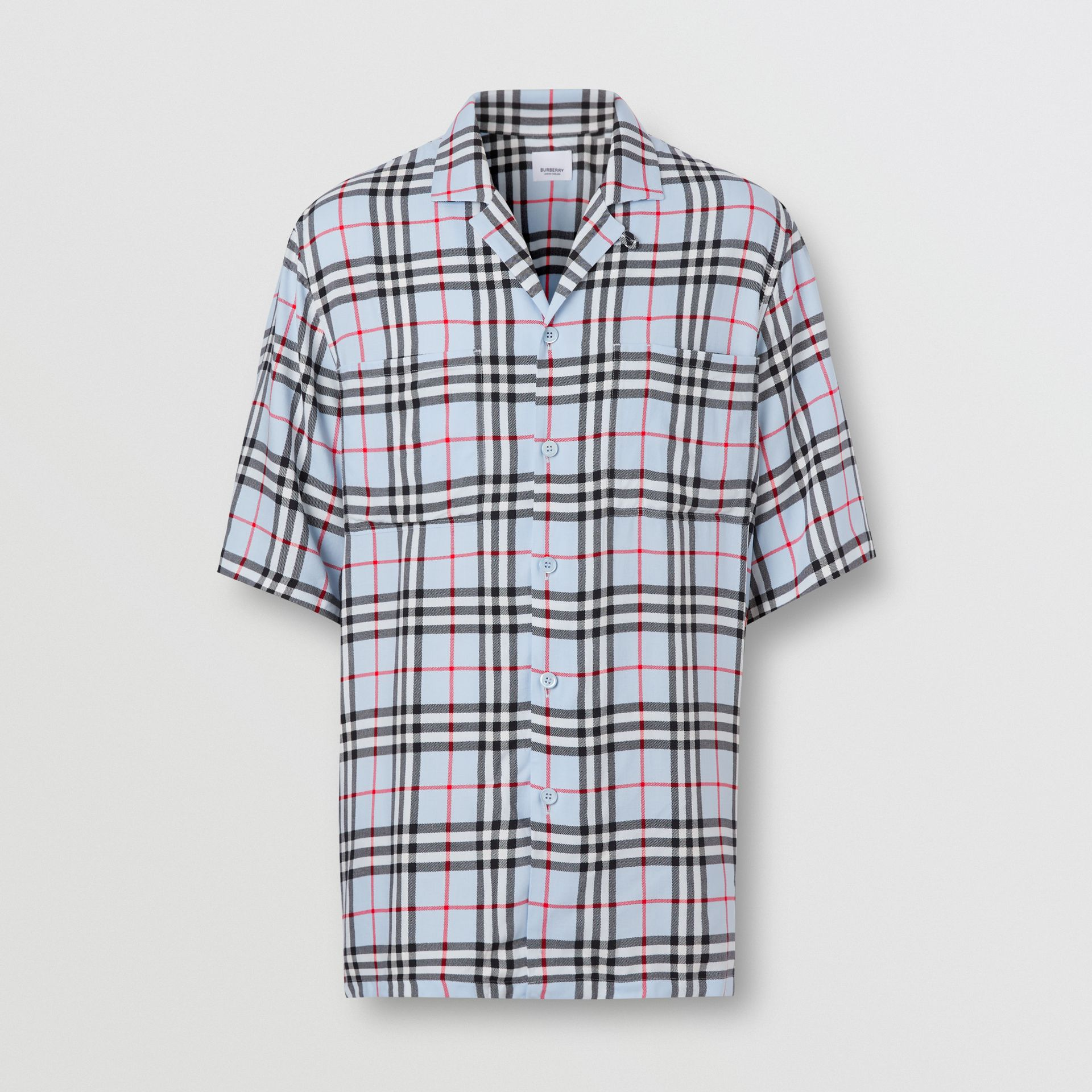 Short-sleeve Vintage Check Twill Shirt in Pale Blue - Men | Burberry United Kingdom - gallery image 3