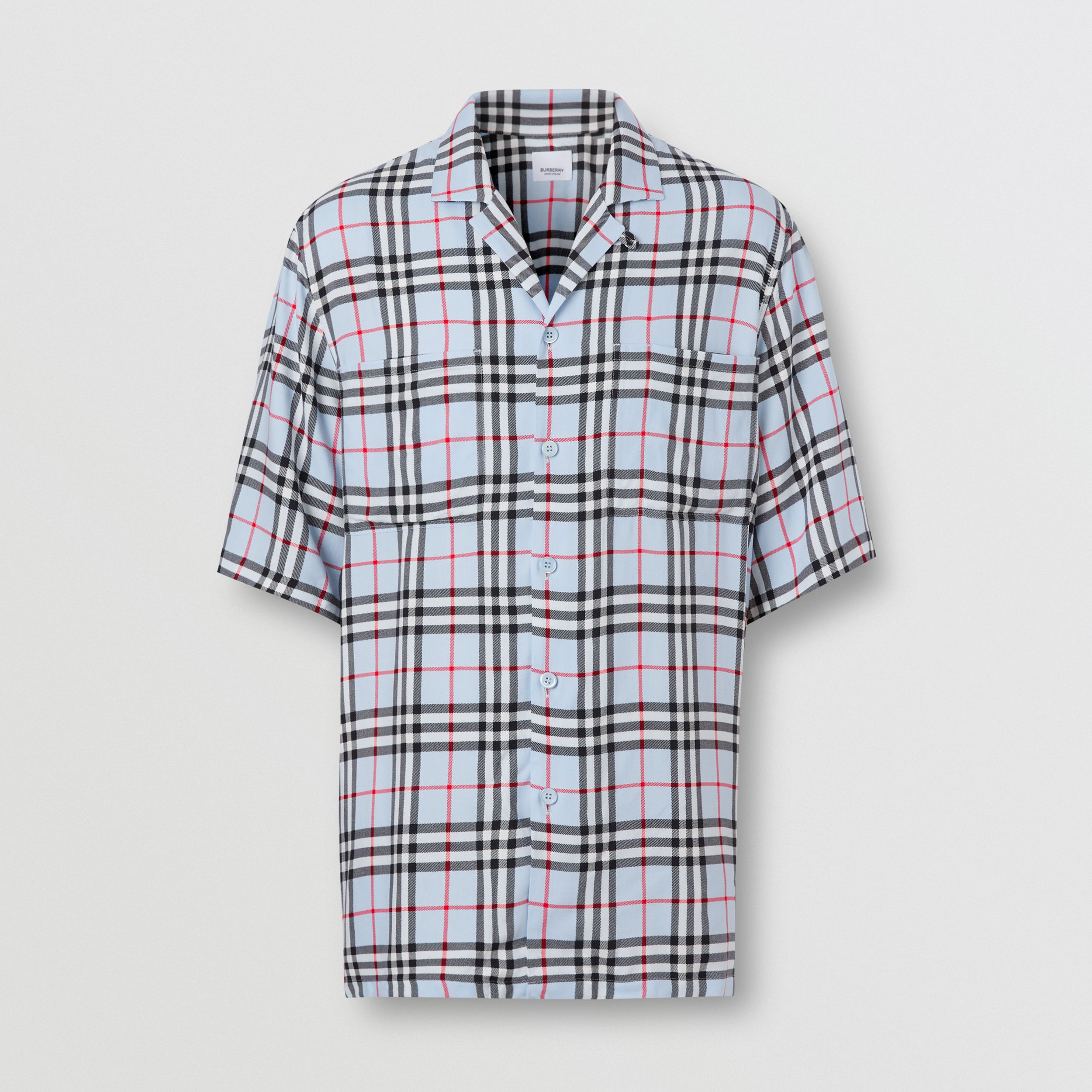 Short-sleeve Vintage Check Twill Shirt in Pale Blue - Men | Burberry Australia - 4