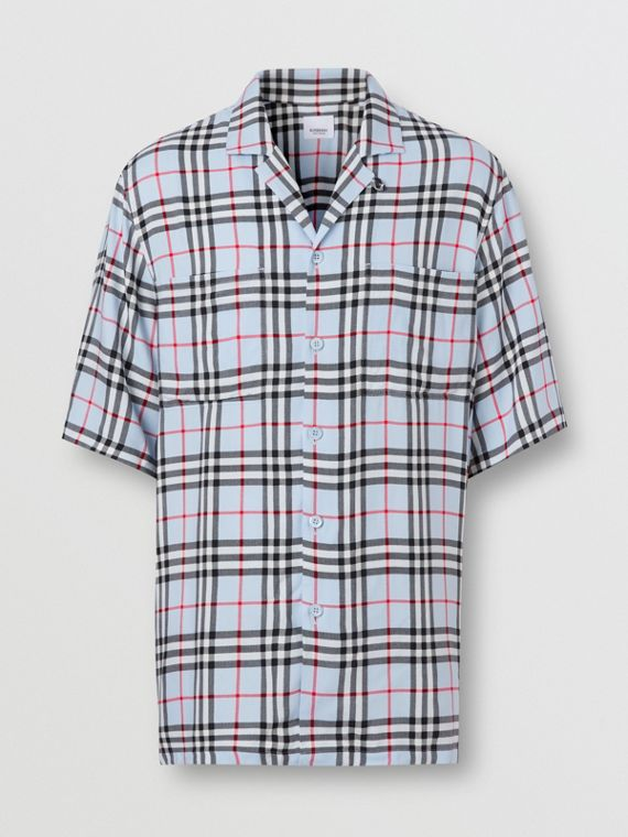 Short-sleeve Vintage Check Twill Shirt in Pale Blue