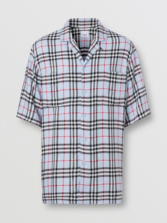 Camicia a maniche corte in twill con motivo Vintage check (Blu Pallido)