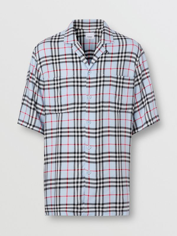 Short-sleeve Vintage Check Twill Shirt in Pale Blue - Men | Burberry United Kingdom - cell image 3