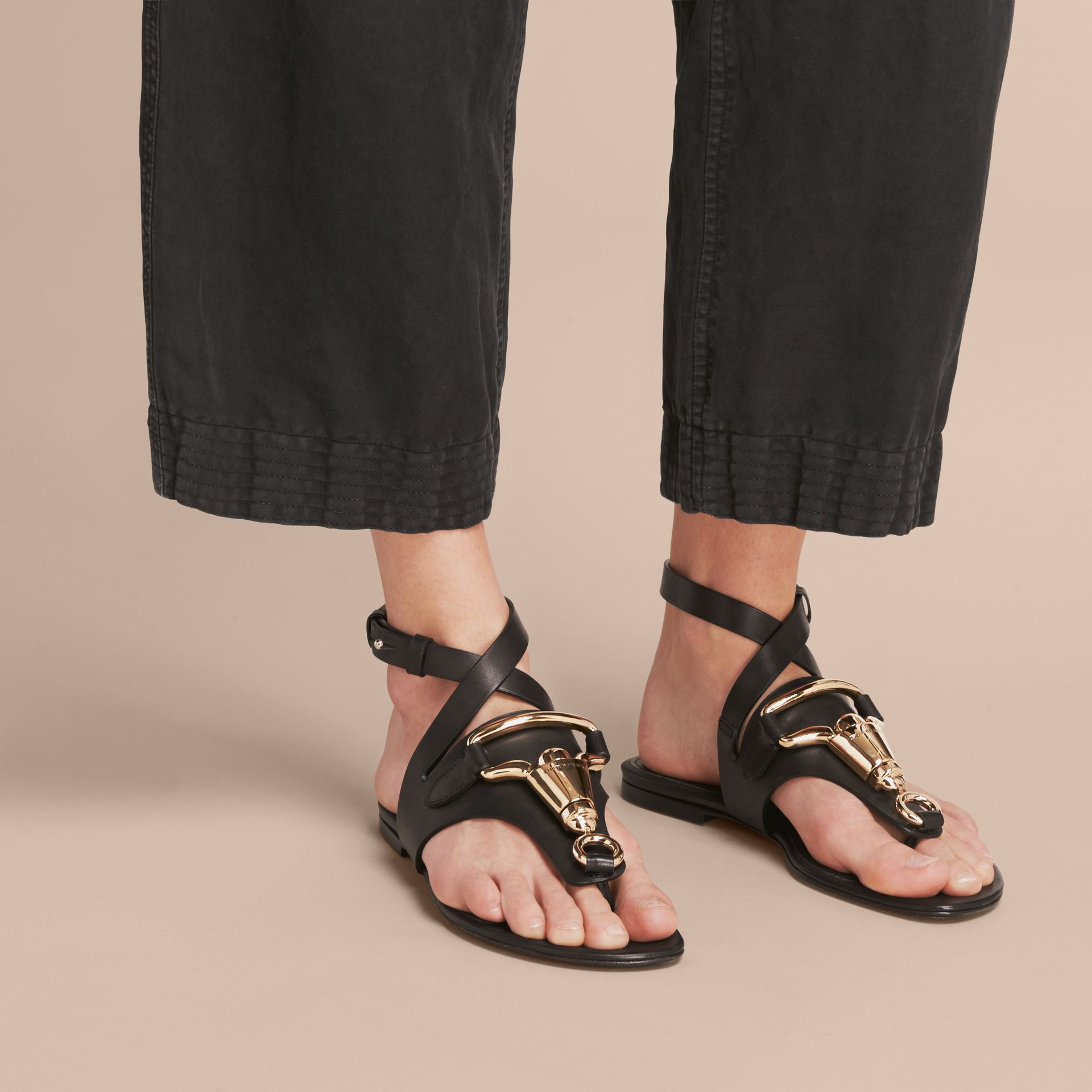 Equestrian Detail Leather Sandals - Women | Burberry - gallery image 3