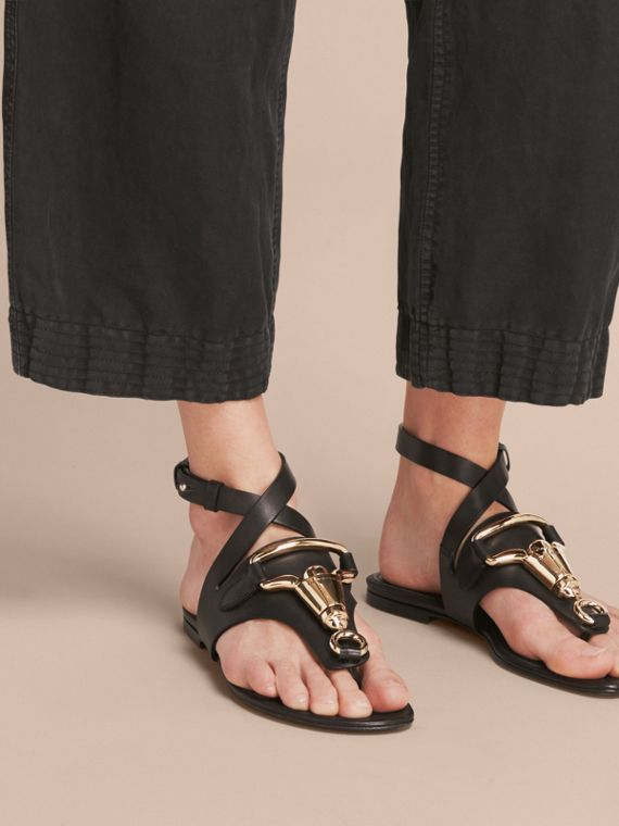 Equestrian Detail Leather Sandals - Women | Burberry - cell image 2