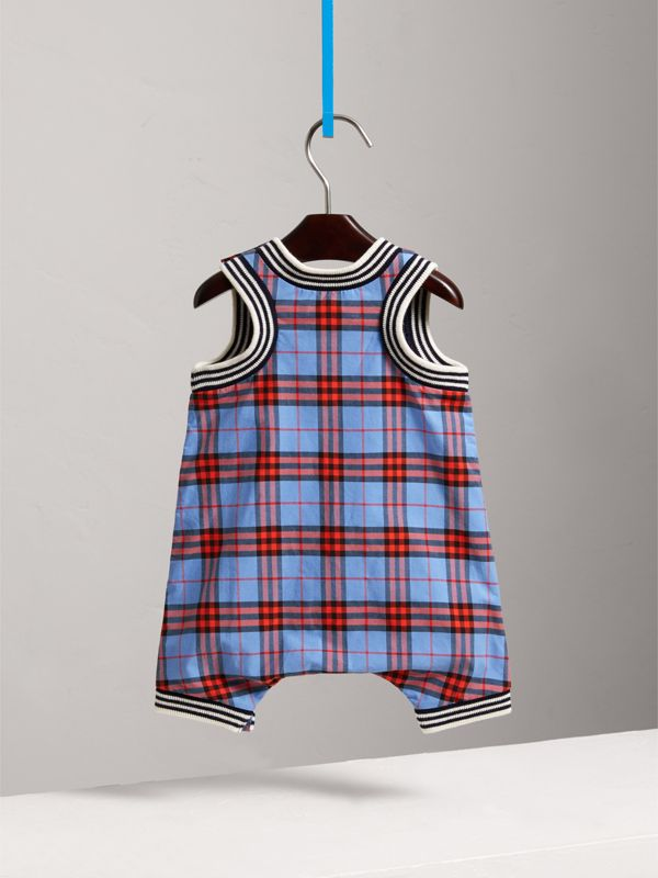 Stripe Detail Check Cotton Playsuit in Cornflower Blue - Children | Burberry - cell image 3