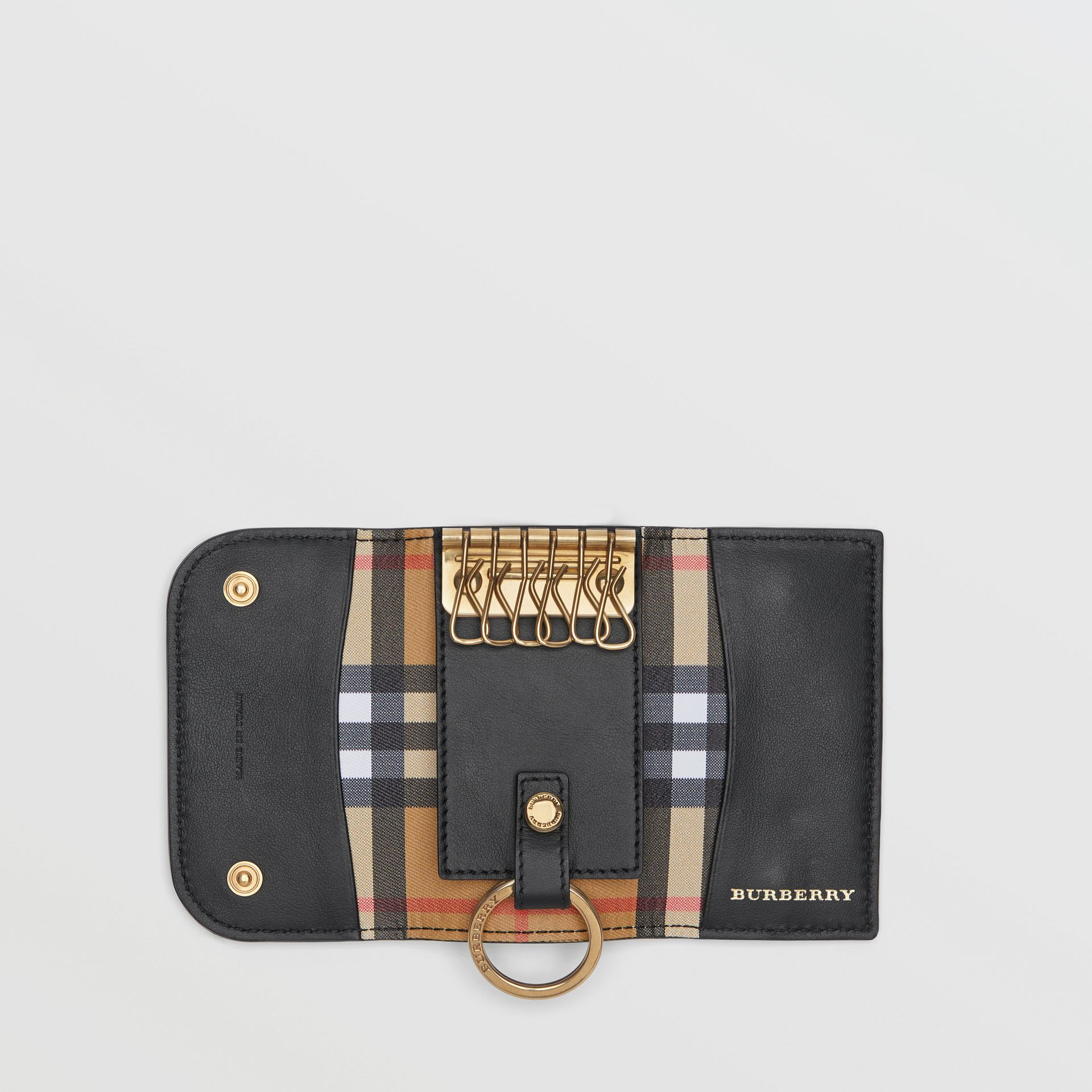 Vintage Check and Leather Key Case in Black - Women | Burberry - gallery image 3