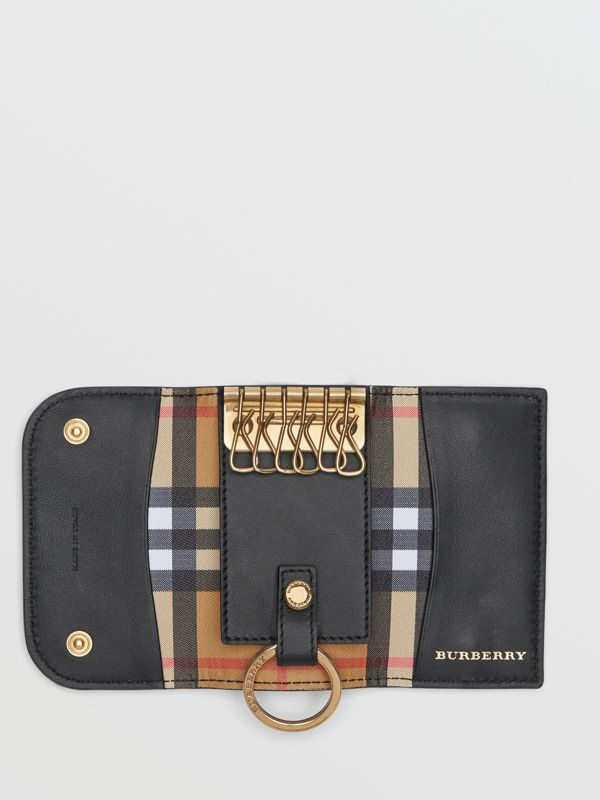 Vintage Check and Leather Key Case in Black - Women | Burberry United Kingdom - cell image 3
