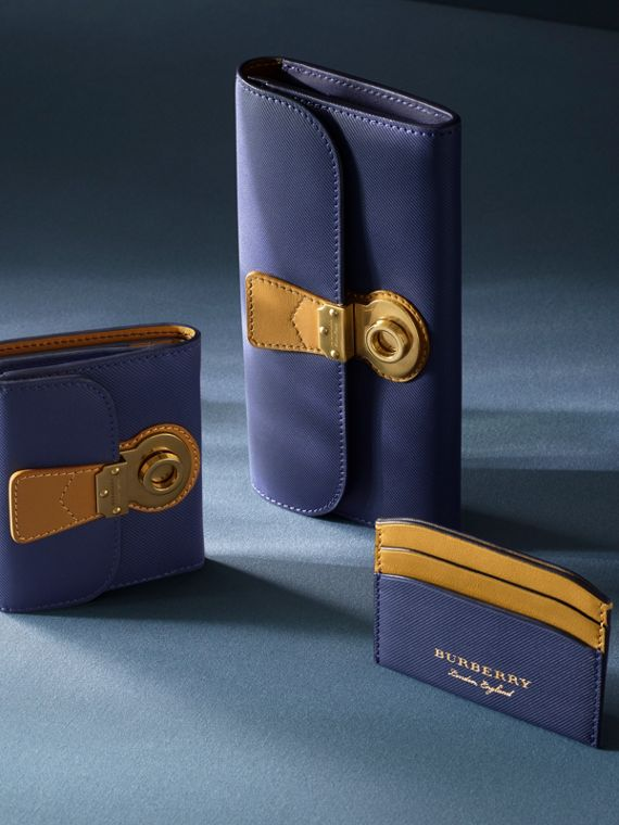 Two-tone Trench Leather Card Case in Ink Blue/ochre Yellow - Women | Burberry United States - cell image 3