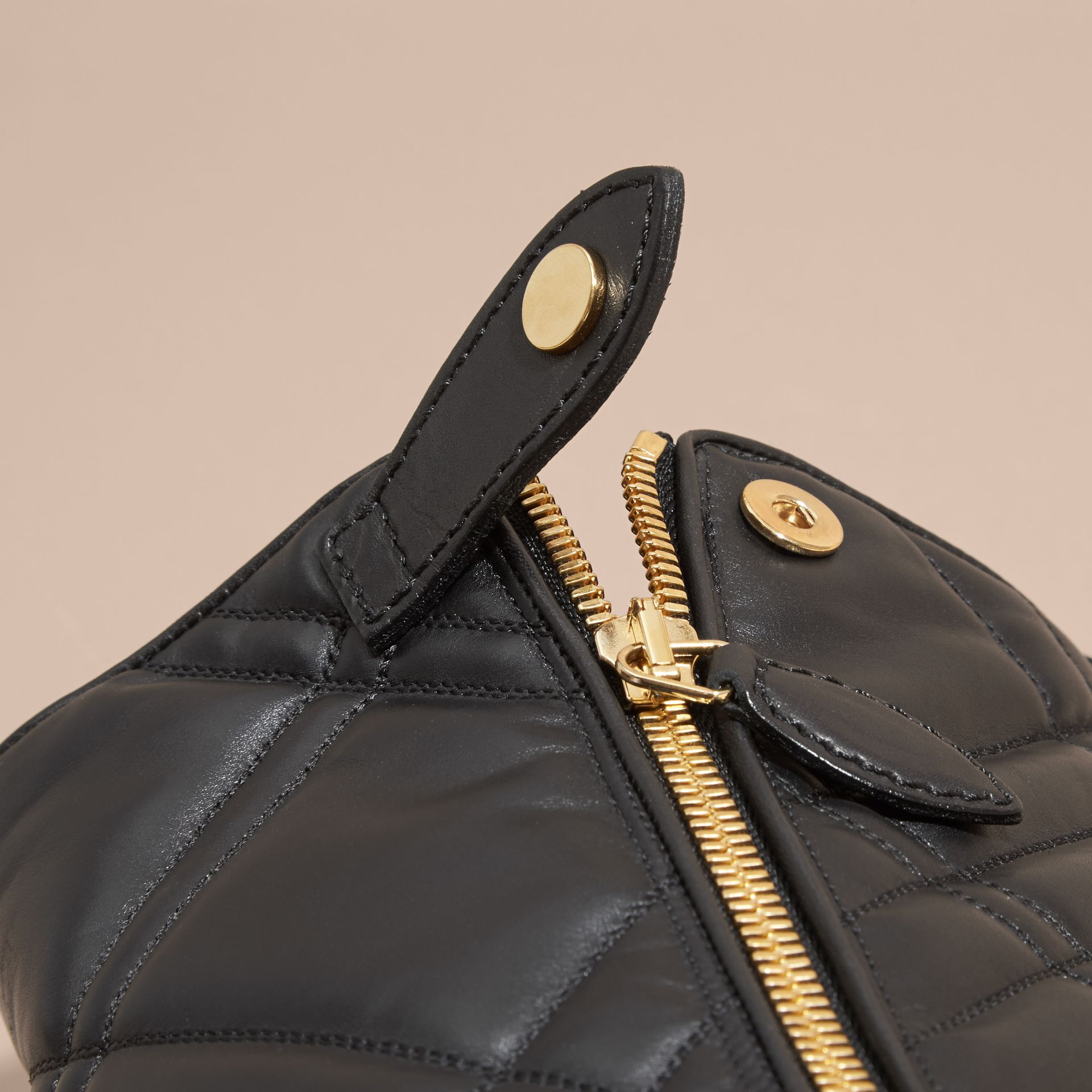 Black Buckle Detail Check Quilted Leather Boots - gallery image 2