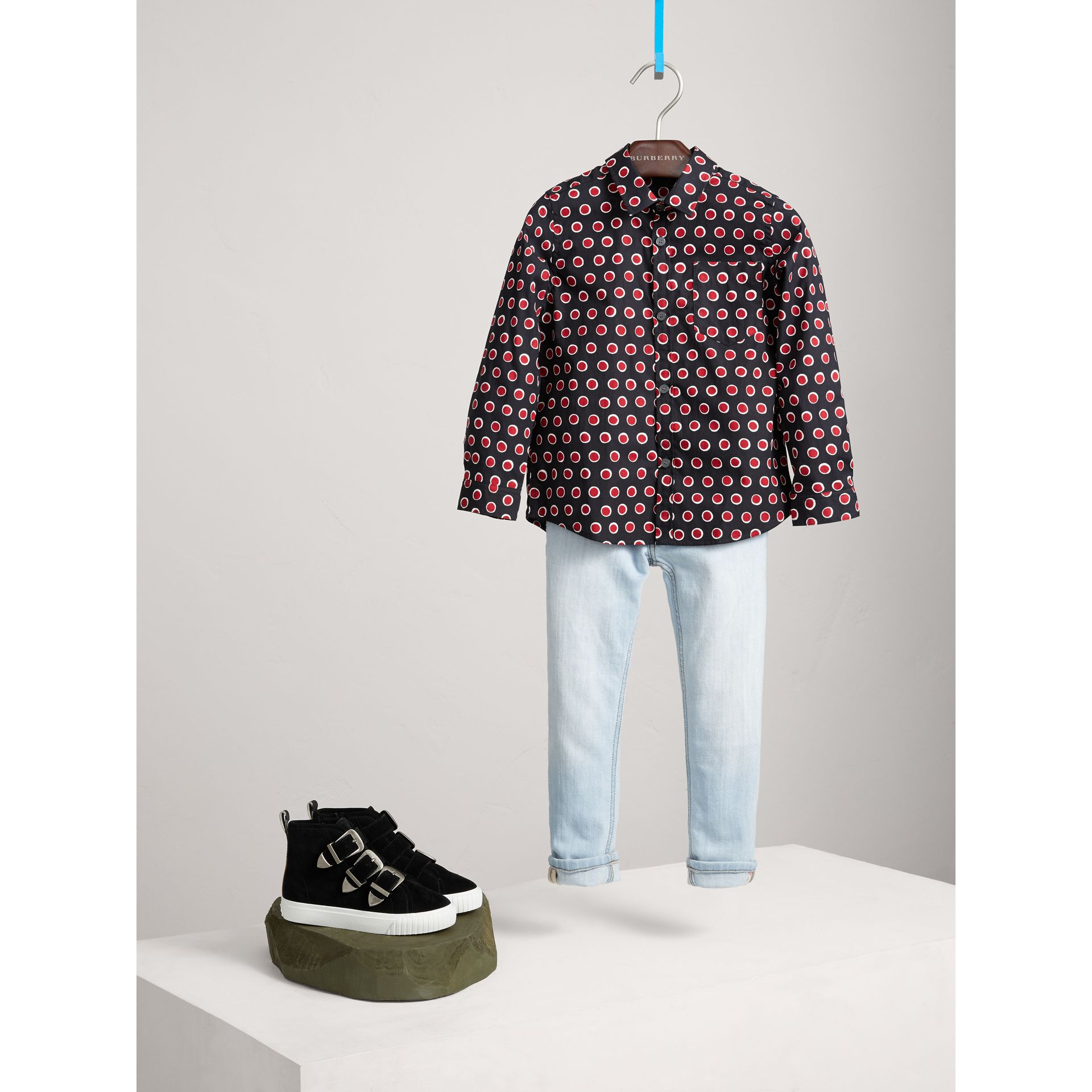 Spot Print Cotton Shirt in Parade Red - Boy | Burberry - gallery image 0