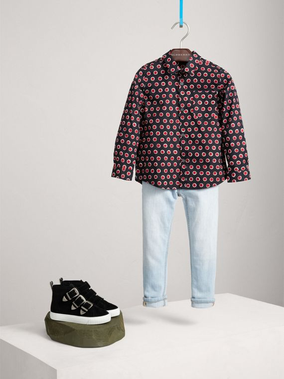 Spot Print Cotton Shirt in Parade Red