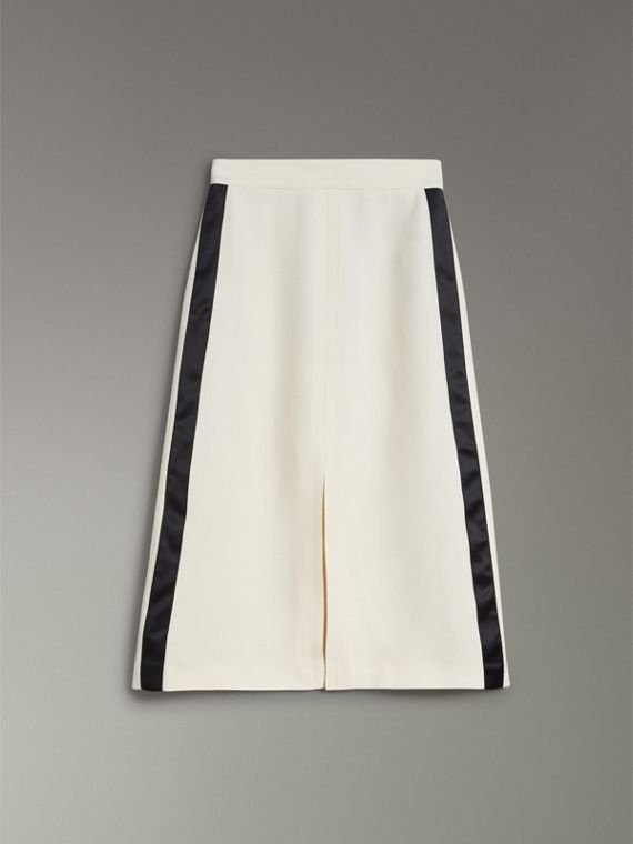 Sport Stripe Wool Silk A-line Skirt in Off White - Women | Burberry Hong Kong - cell image 3