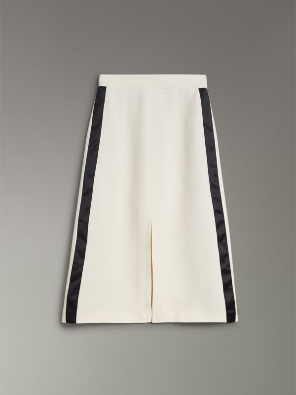 Sport Stripe Wool Silk A-line Skirt in Off White - Women | Burberry - cell image 3