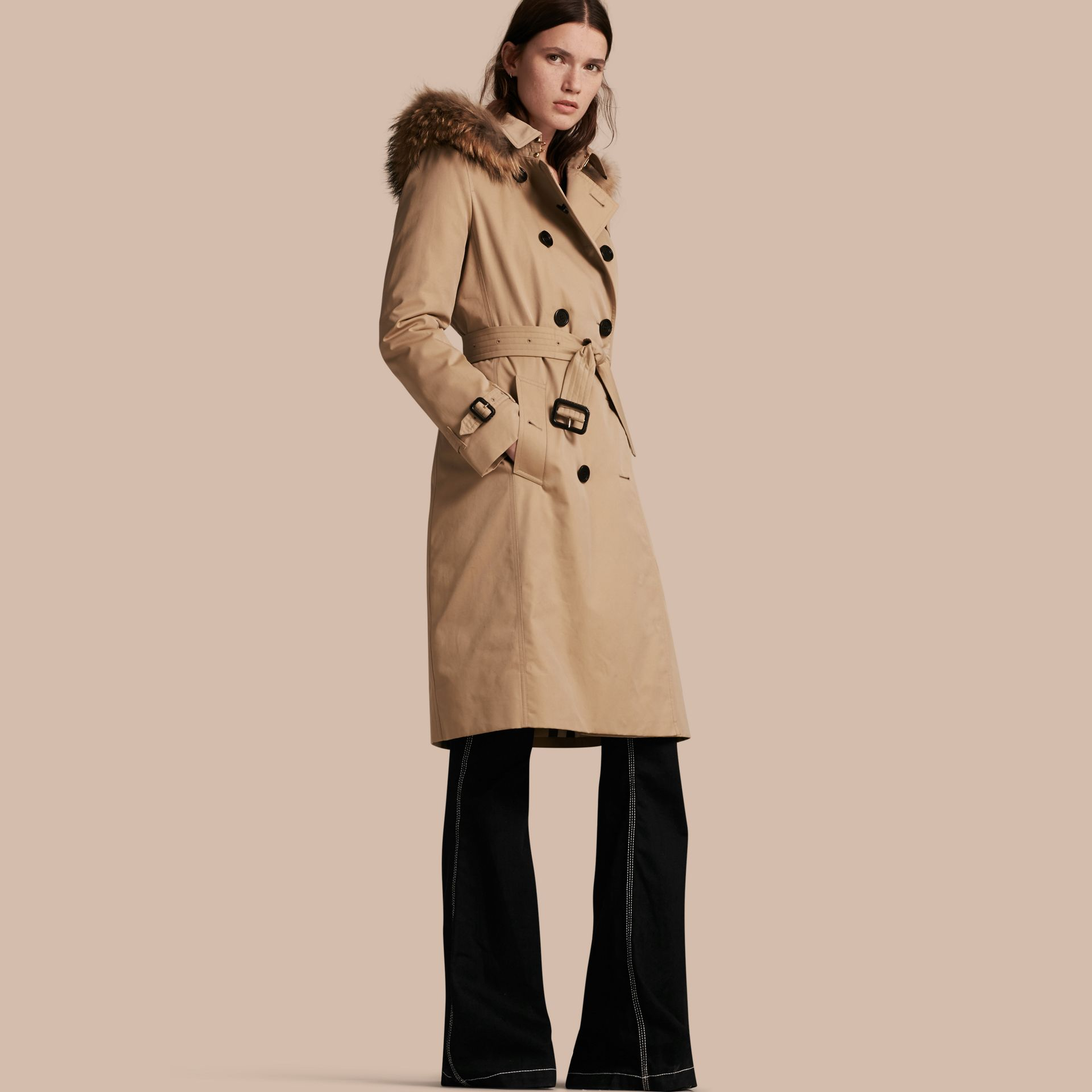 Honey Fur-trimmed Hood Trench Coat with Detachable Warmer Honey - gallery image 1