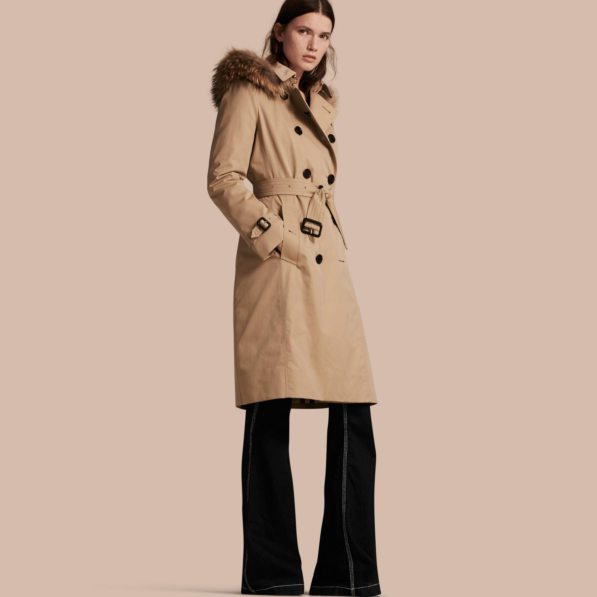 Miel Trench-coat avec capuche bordée de fourrure et gilet intérieur amovible Miel - photo de la galerie 1