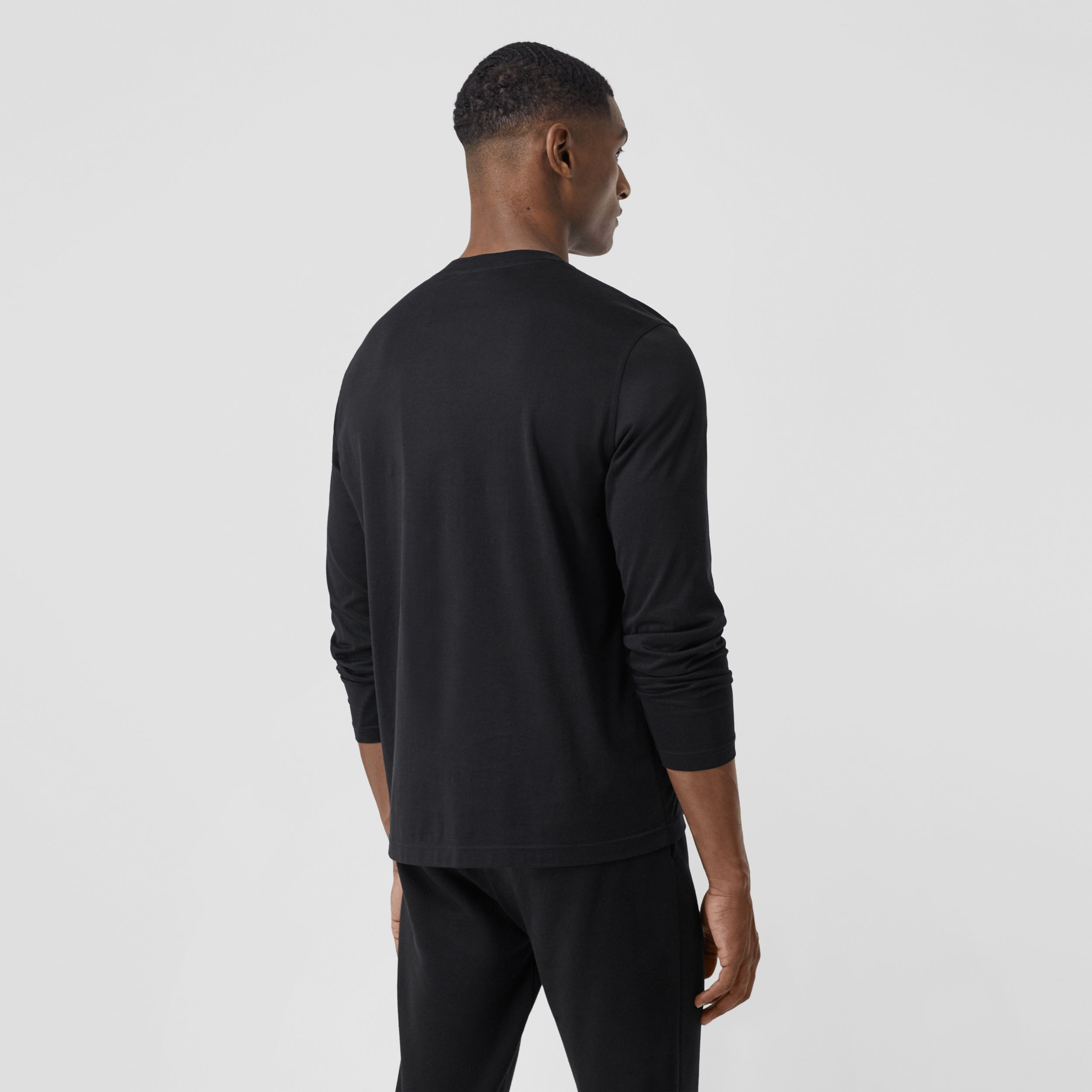 Long-sleeve Monogram Motif Cotton Top in Black - Men | Burberry Hong Kong S.A.R. - 3