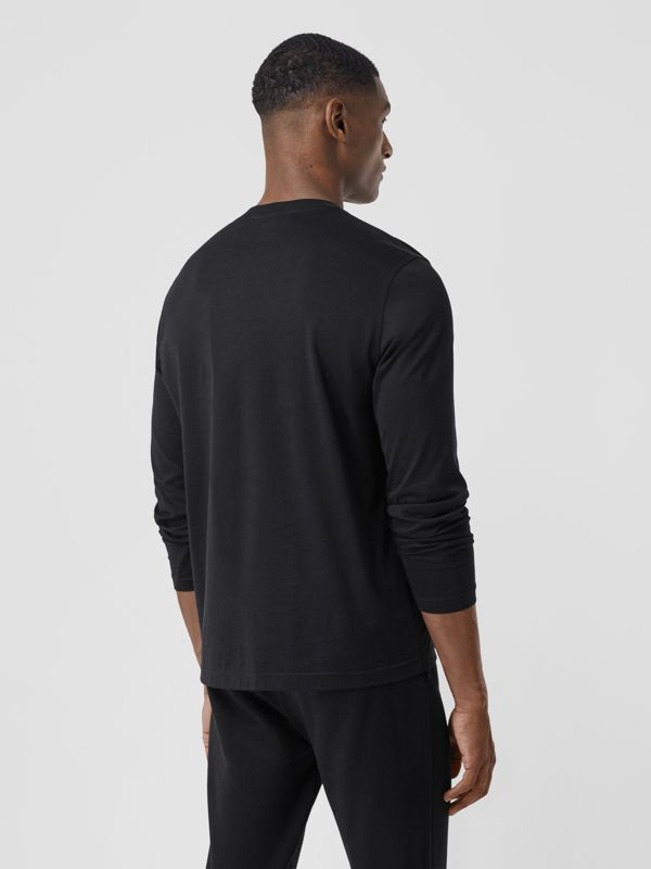 Long-sleeve Monogram Motif Cotton Top in Black - Men | Burberry - cell image 2