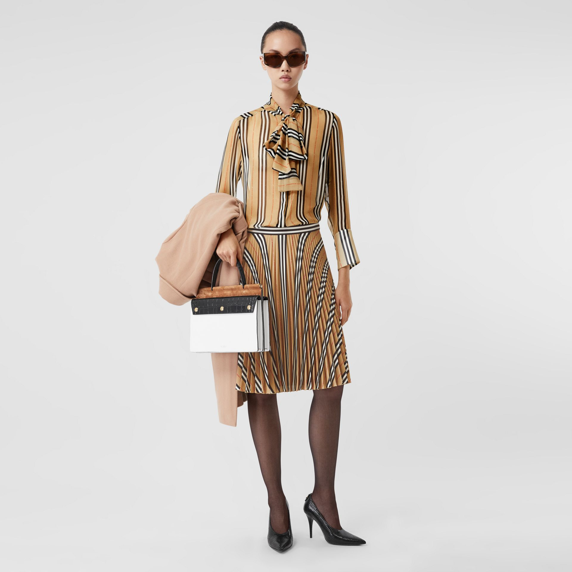 Logo and Stripe Print Crepe Pleated Skirt in Archive Beige - Women | Burberry Canada - gallery image 0