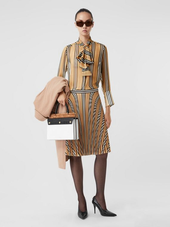 Logo and Stripe Print Crepe Pleated Skirt in Archive Beige