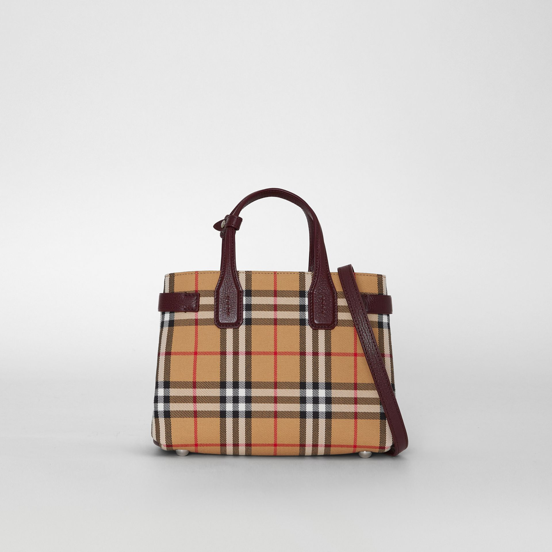 The Small Banner in Vintage Check and Leather in Deep Claret - Women | Burberry Singapore - gallery image 0