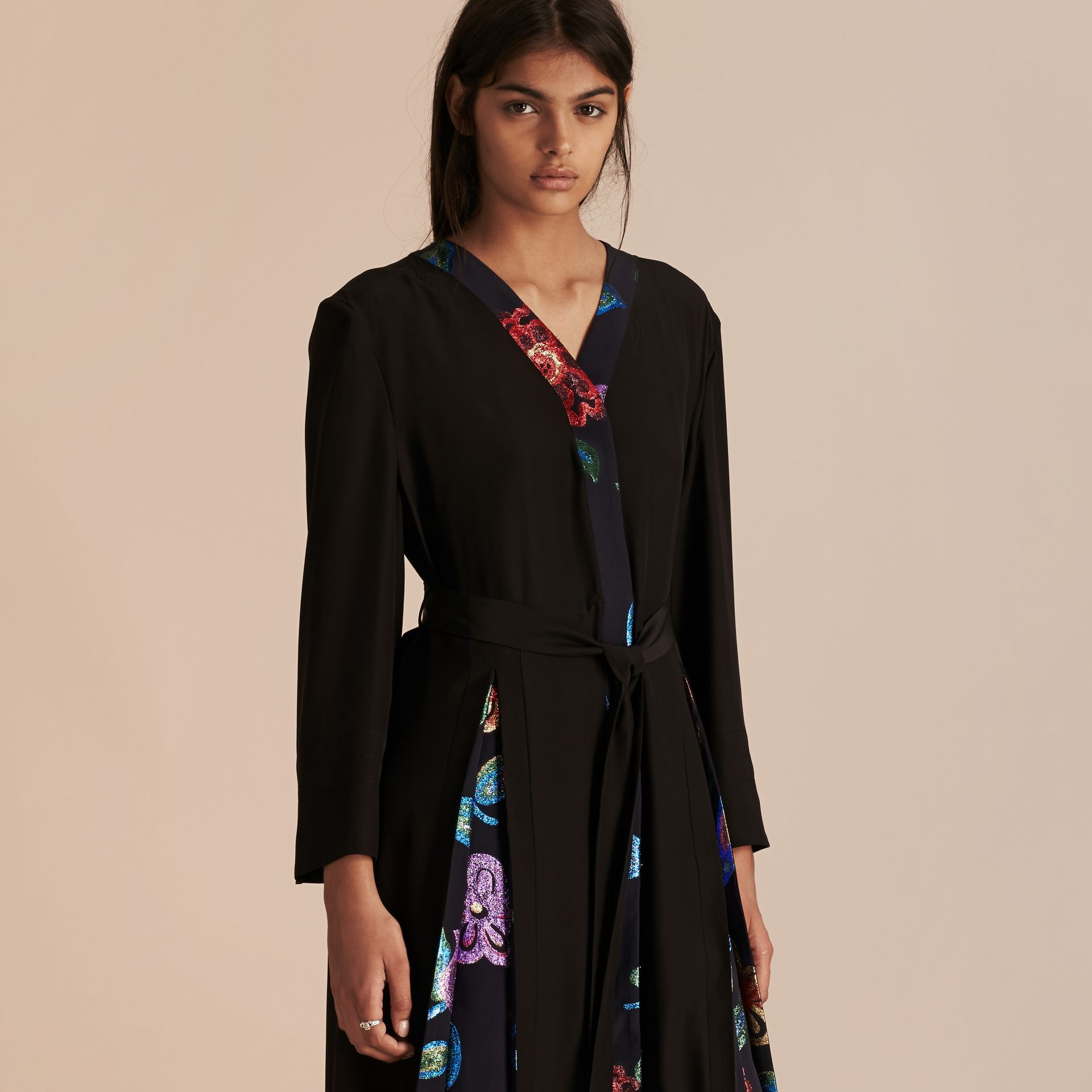 Black Floral Fil Coupé Trimmed Silk Wrap Gown - gallery image 6