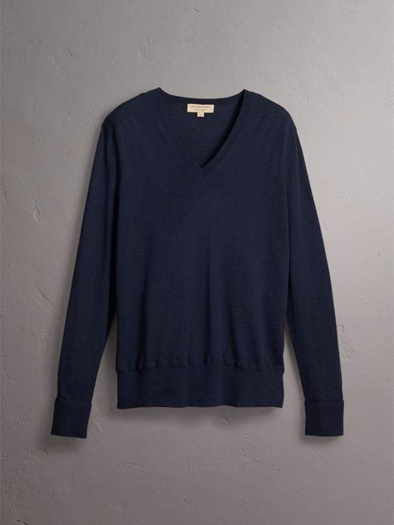 Merino Wool V-neck Sweater in Navy - Men | Burberry - cell image 3