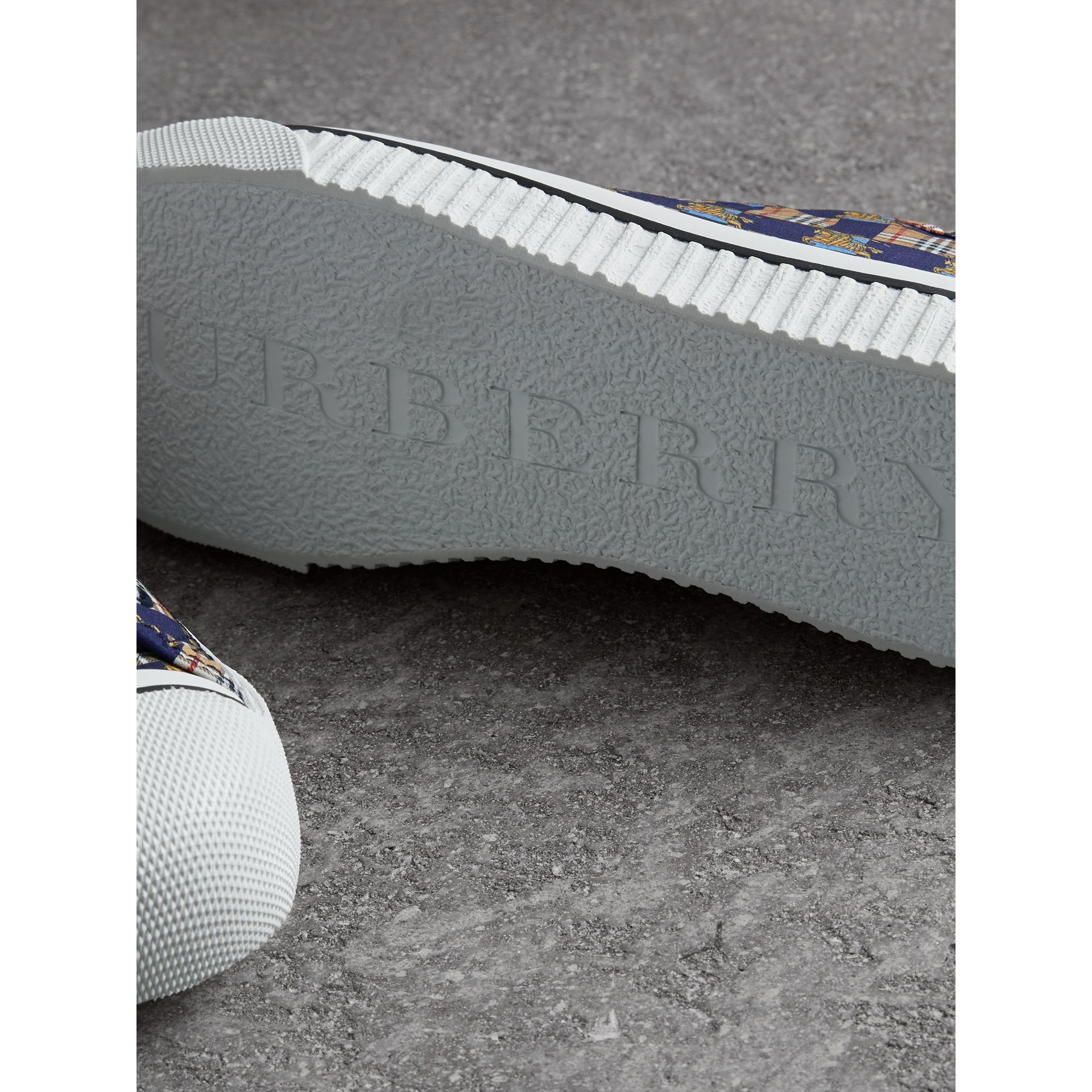 Tiled Archive Print Cotton Sneakers in Navy | Burberry - gallery image 1