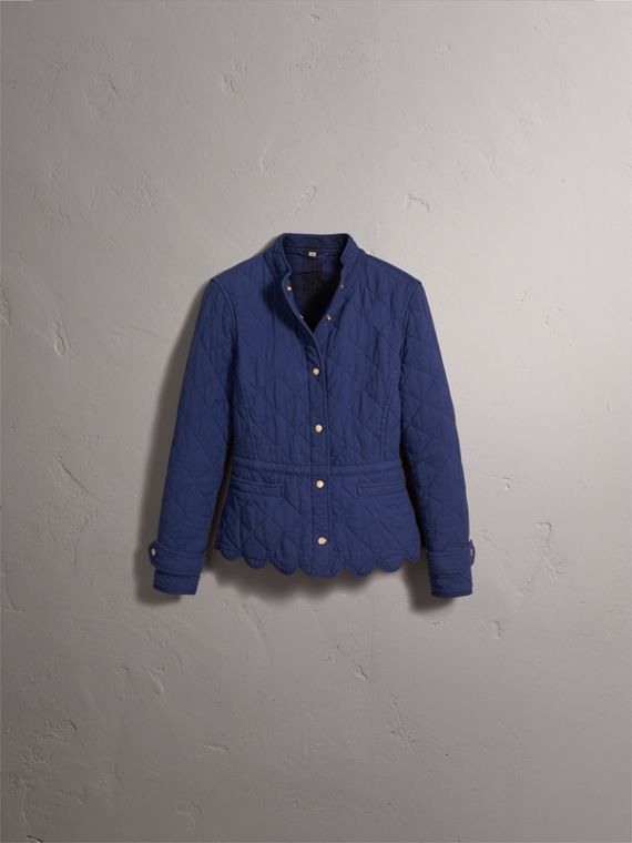 Scalloped Diamond Quilted Jacket in Indigo - cell image 3