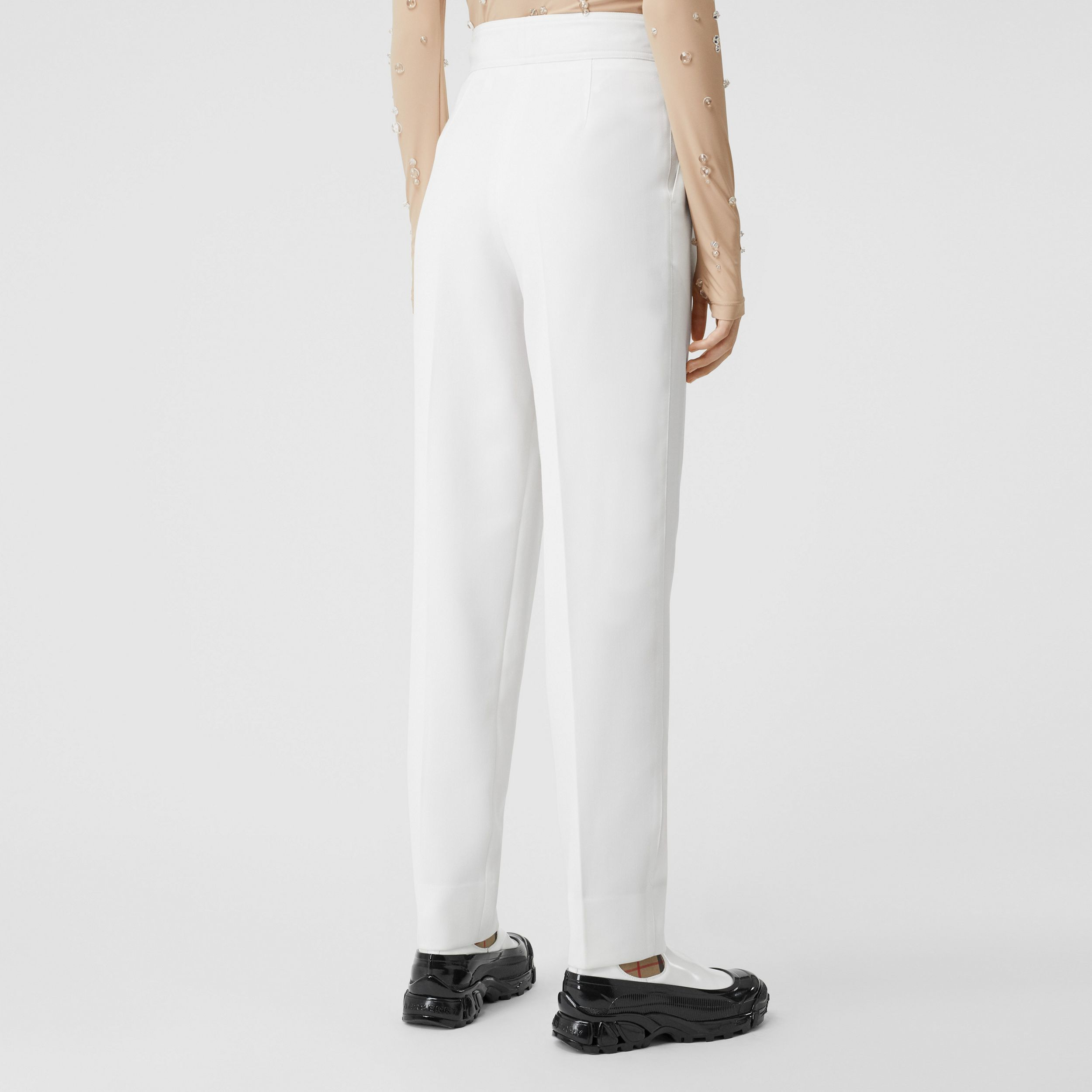 Location Print Wool Blend Tailored Trousers in Optic White - Women | Burberry - 3