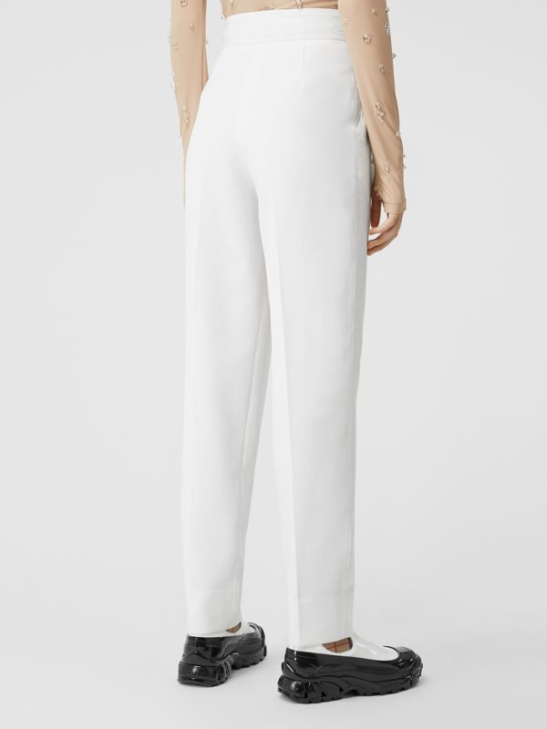 Location Print Wool Blend Tailored Trousers in Optic White - Women | Burberry - cell image 2