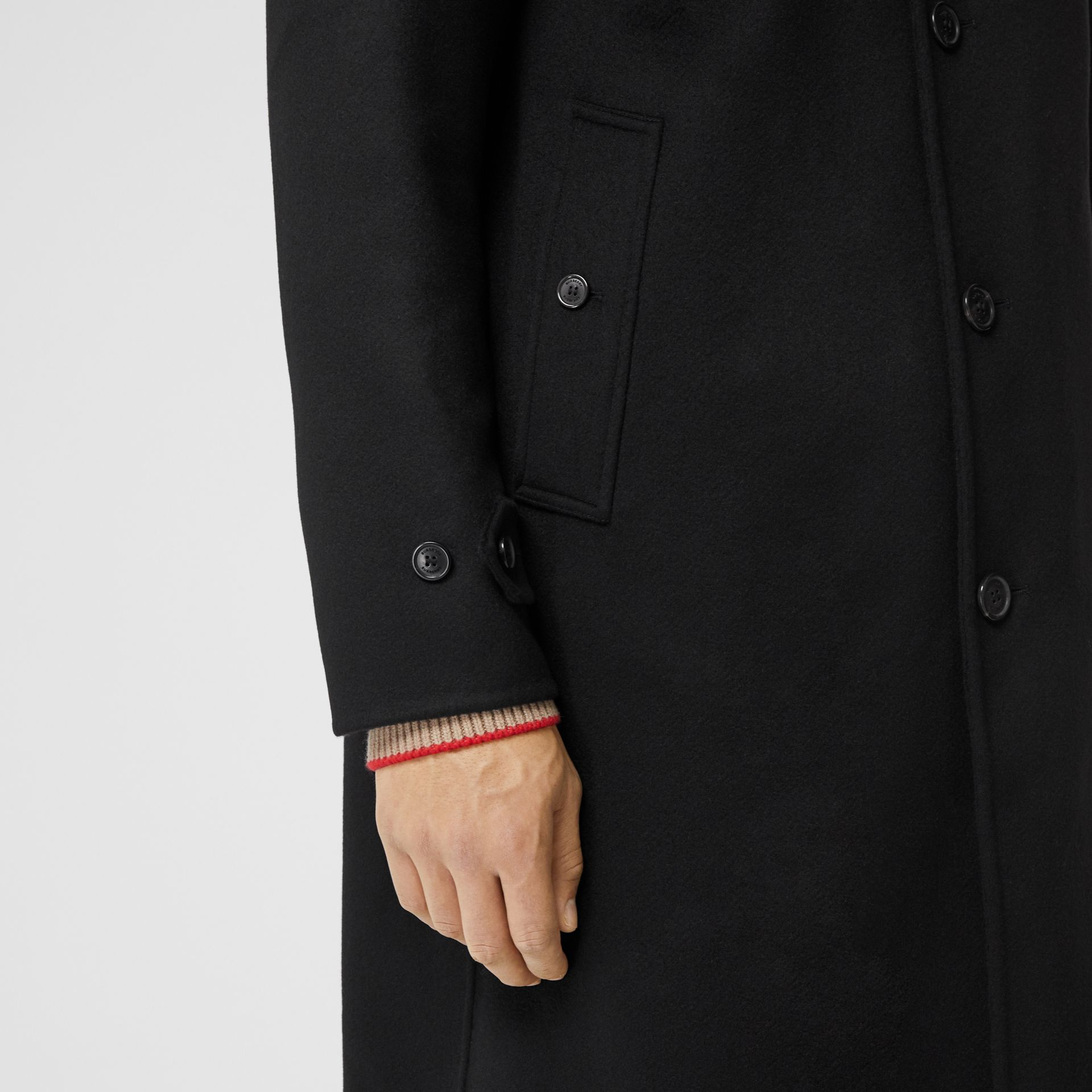 Double-faced Cashmere Hooded Coat in Black - Men | Burberry United Kingdom - gallery image 4