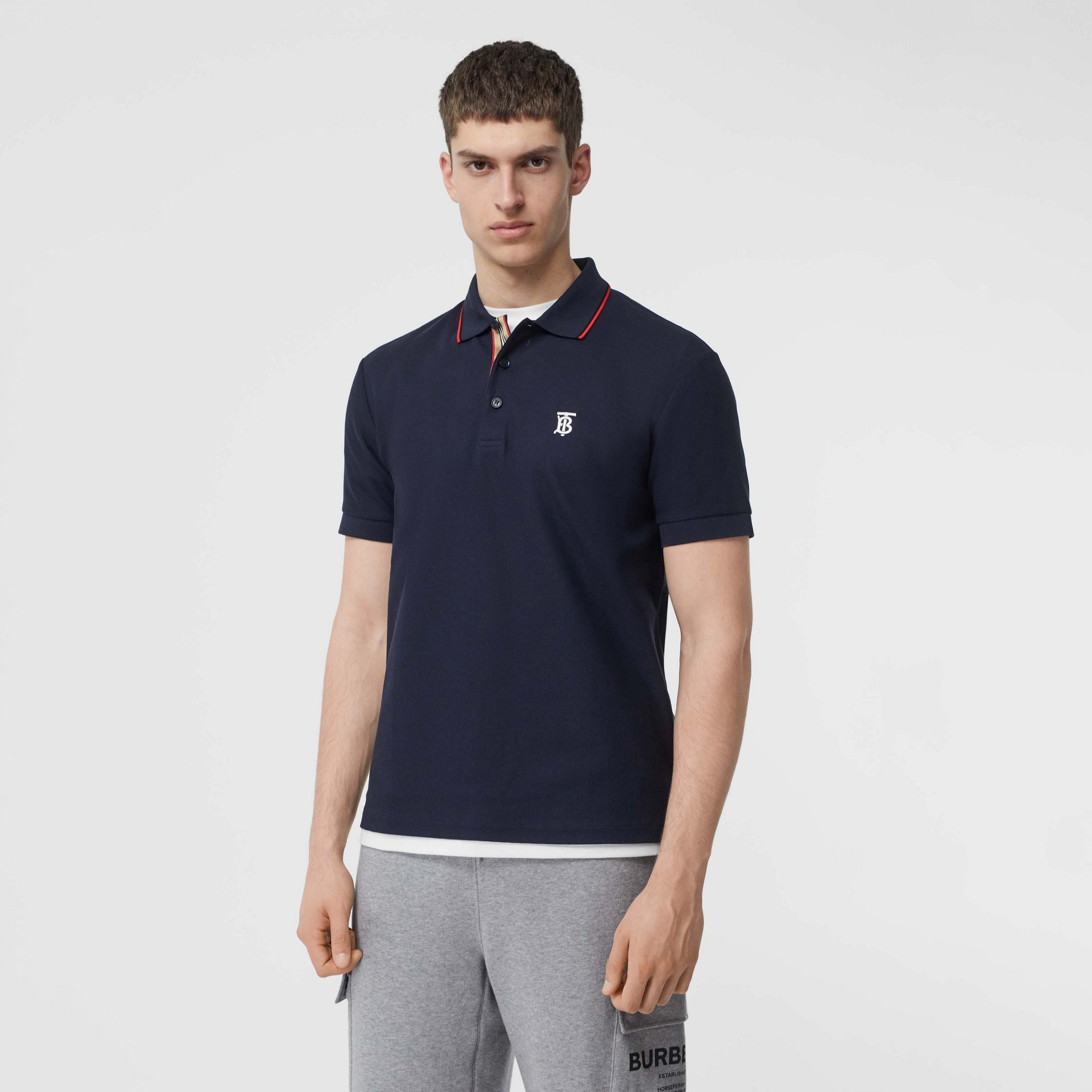 Icon Stripe Placket Cotton Piqué Polo Shirt in Navy - Men | Burberry Canada - gallery image 0