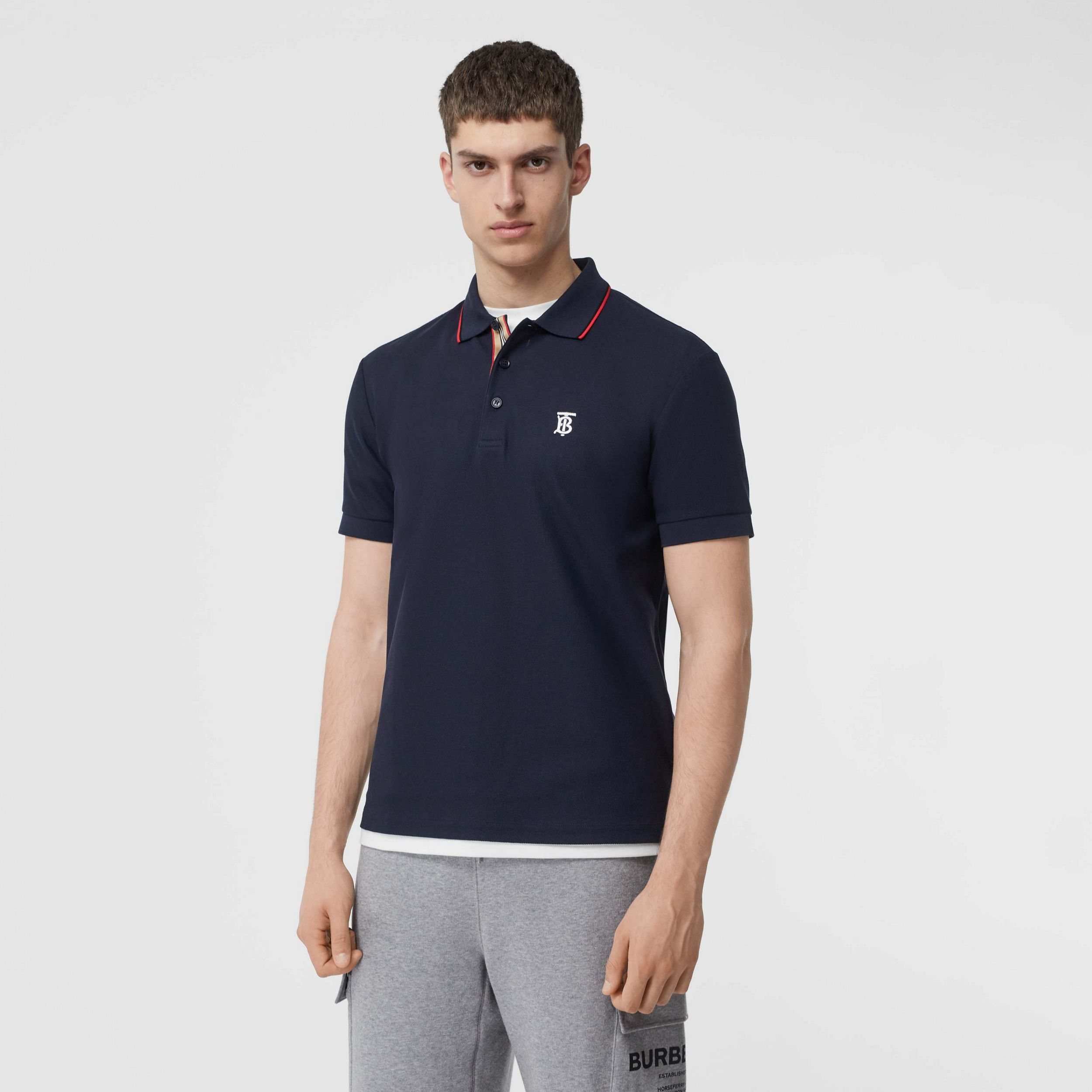 Icon Stripe Placket Cotton Piqué Polo Shirt in Navy - Men | Burberry - 1