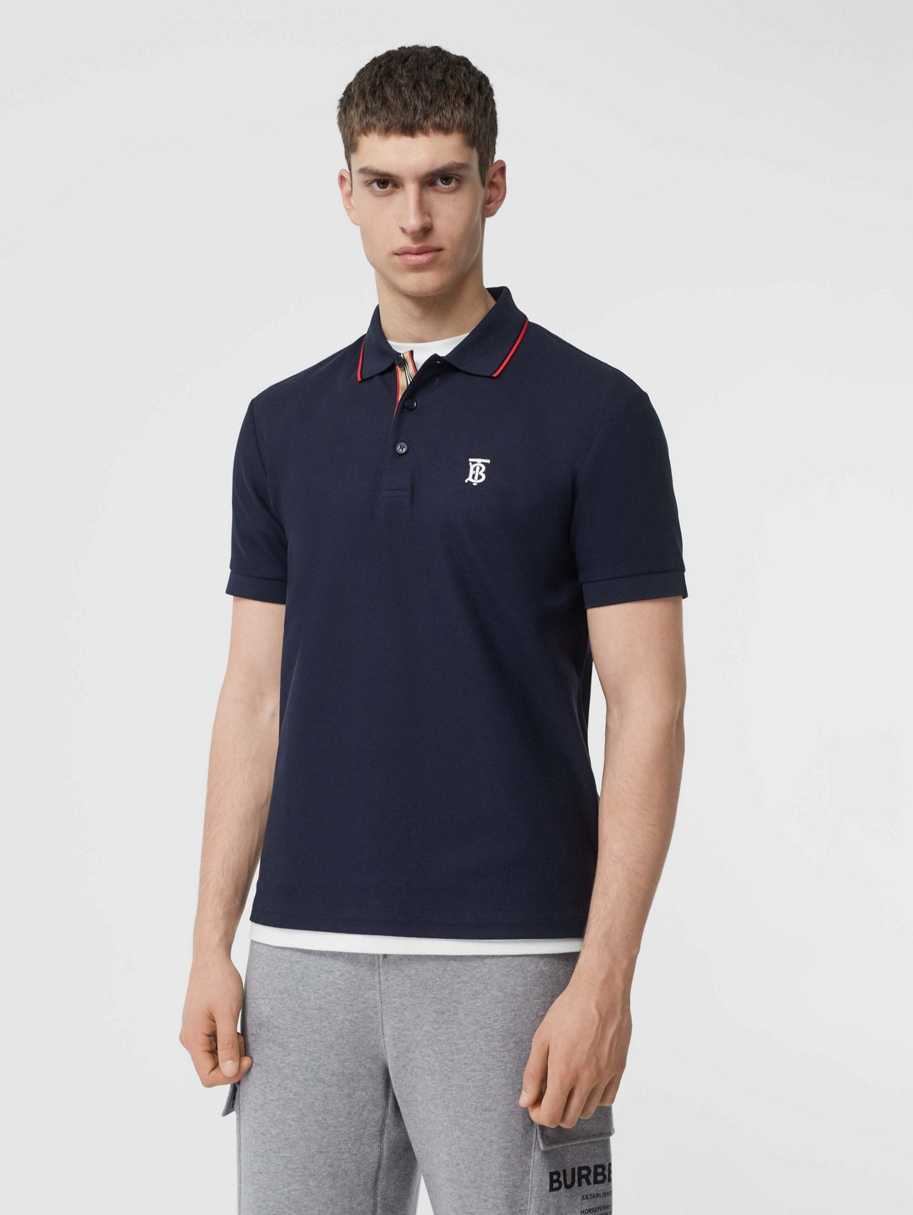 Icon Stripe Placket Cotton Piqué Polo Shirt in Navy