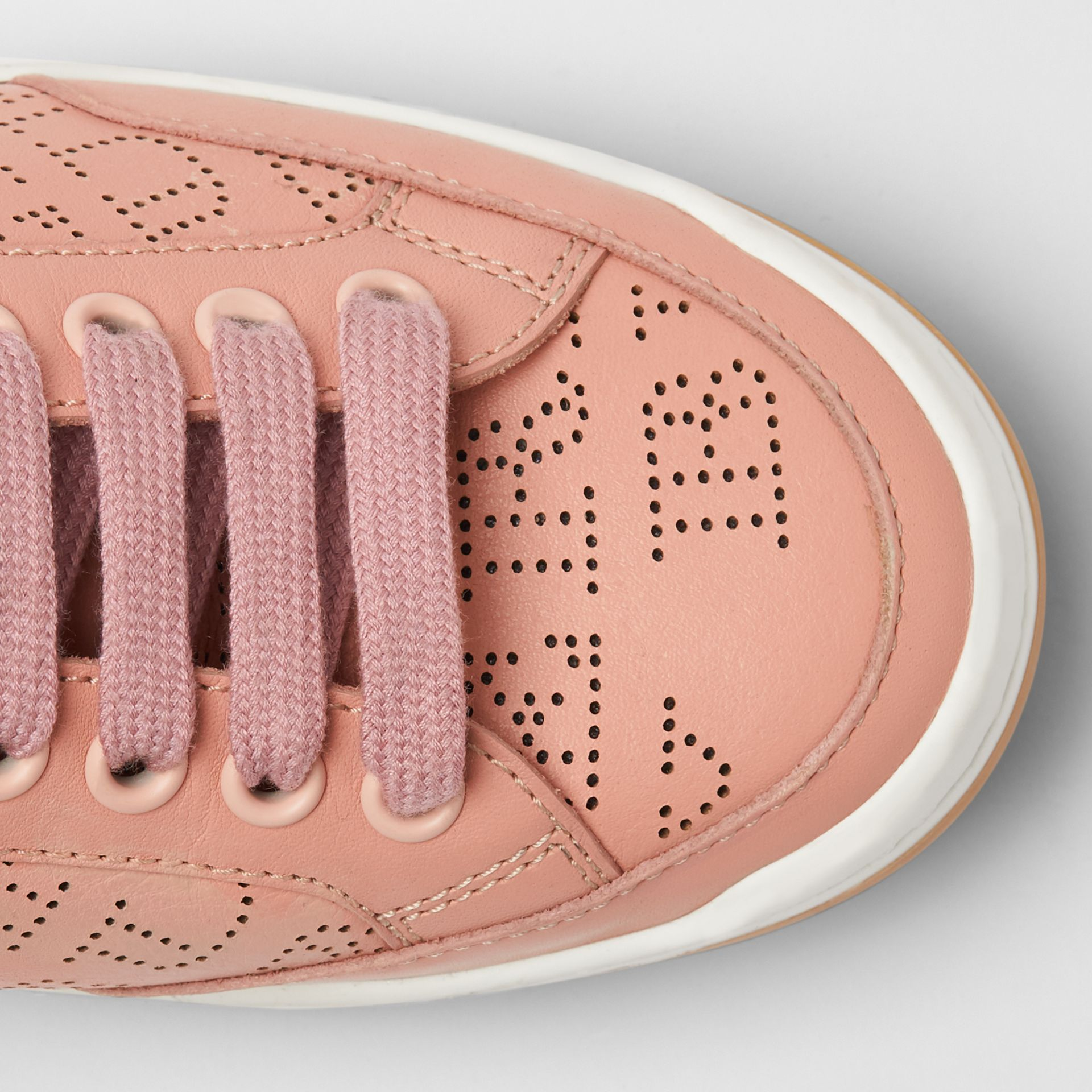 Perforated Logo Leather Sneakers in Pale Fawn Pink - Women | Burberry - gallery image 1