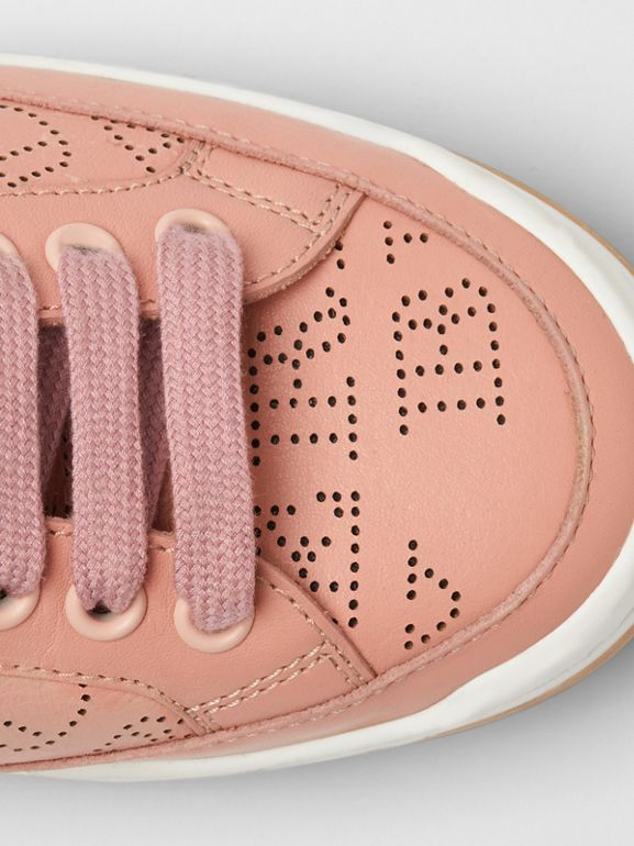 Perforated Logo Leather Sneakers in Pale Fawn Pink - Women | Burberry United Kingdom - cell image 1