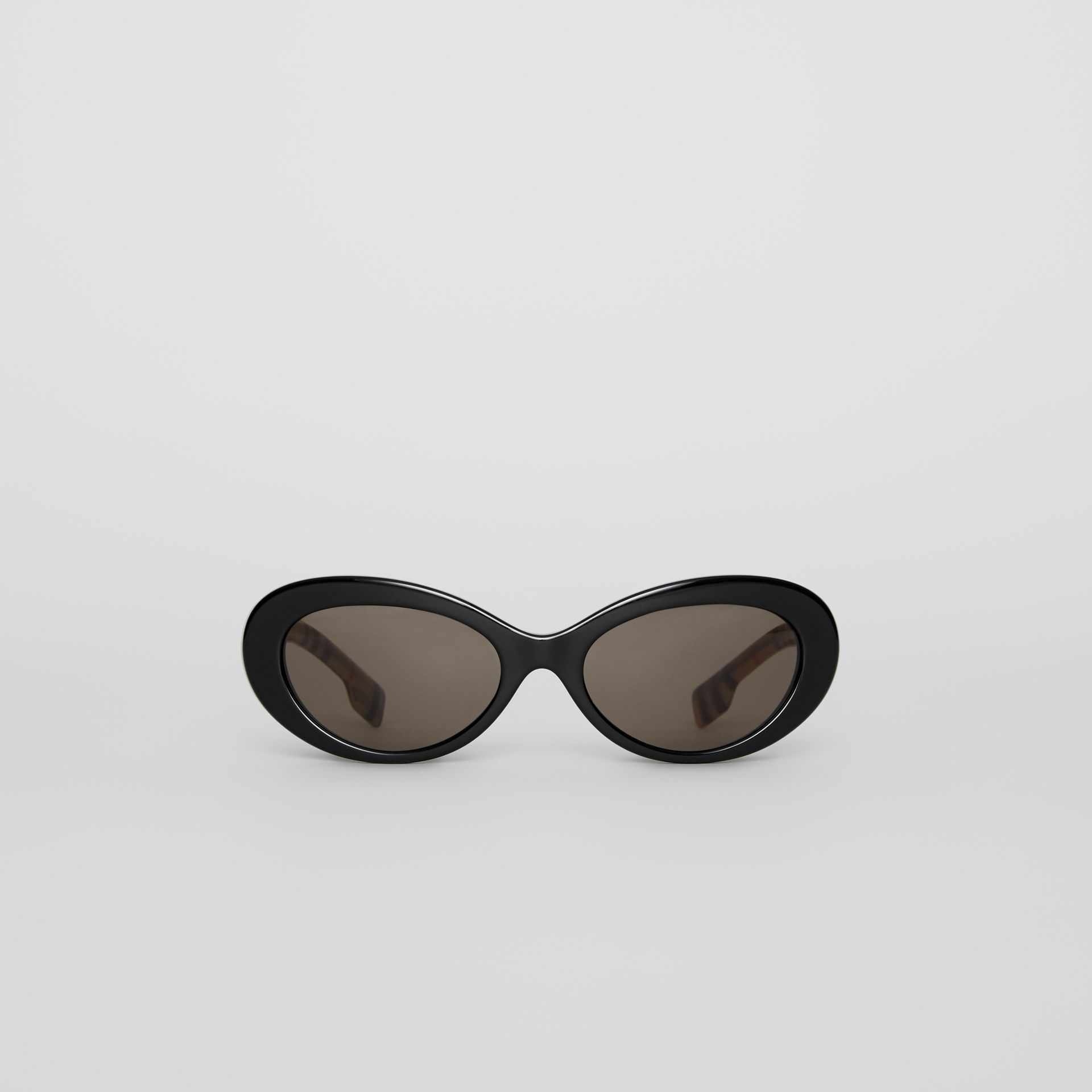 Vintage Check Detail Cat-eye Frame Sunglasses in Black - Women | Burberry United Kingdom - gallery image 0