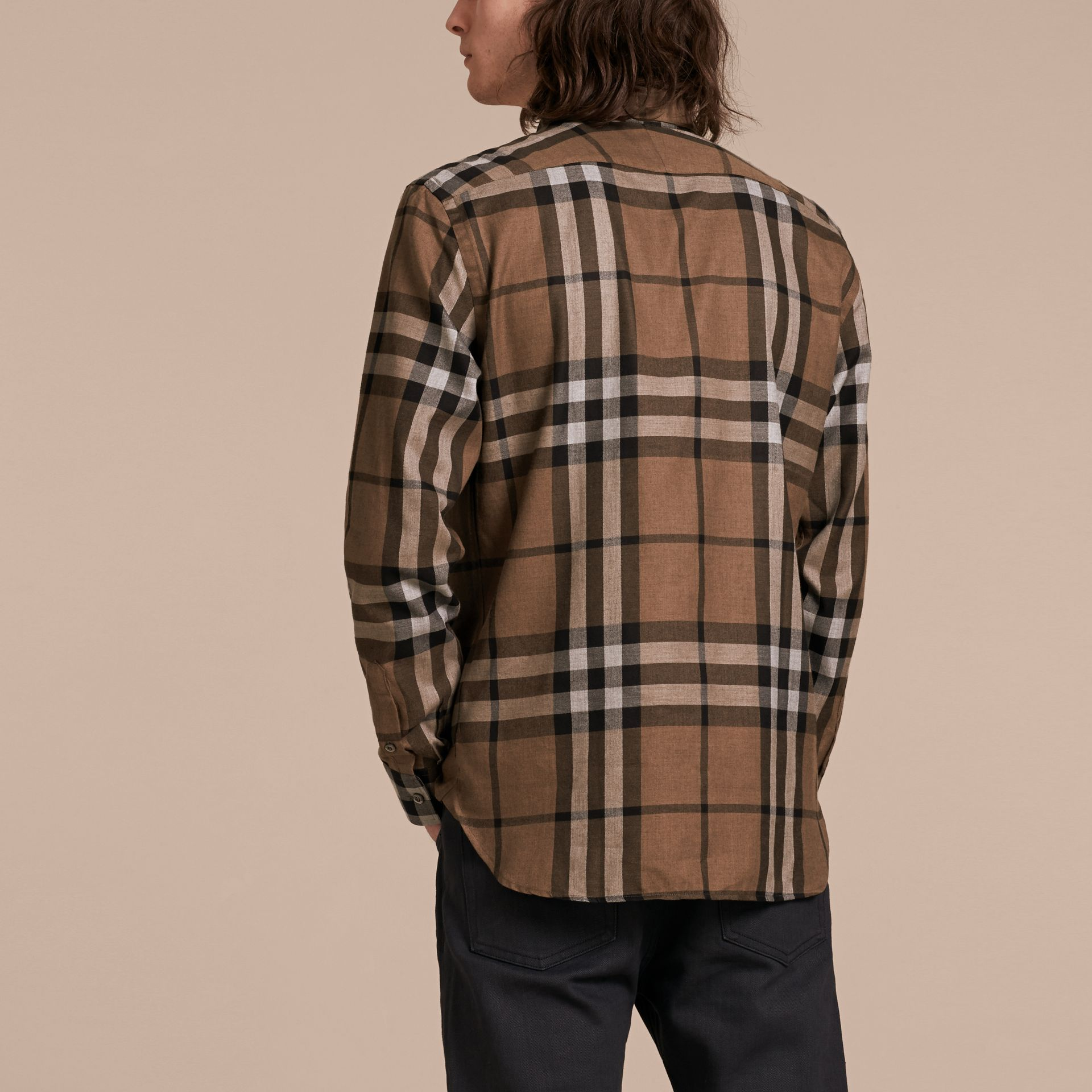 Check Cotton Cashmere Flannel Shirt in Walnut - Men | Burberry - gallery image 3