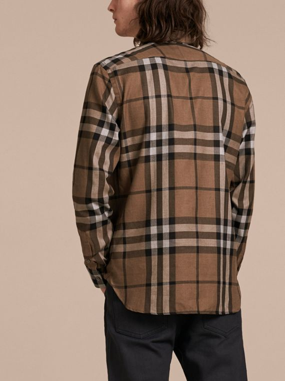 Check Cotton Cashmere Flannel Shirt in Walnut - Men | Burberry - cell image 2