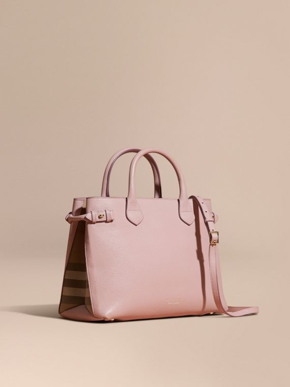 The Medium Banner in Leather and House Check in Pale Orchid - Women | Burberry Australia